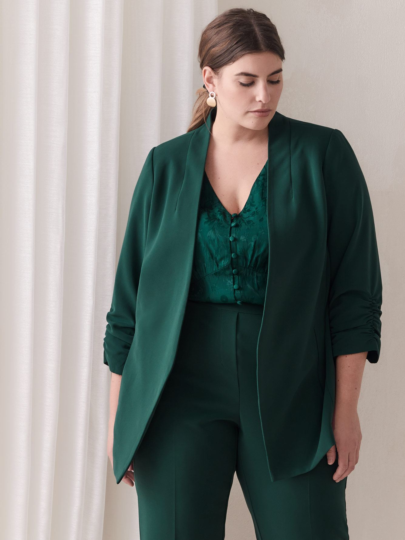 Blazer with Three-Quarter Sleeves - Addition Elle
