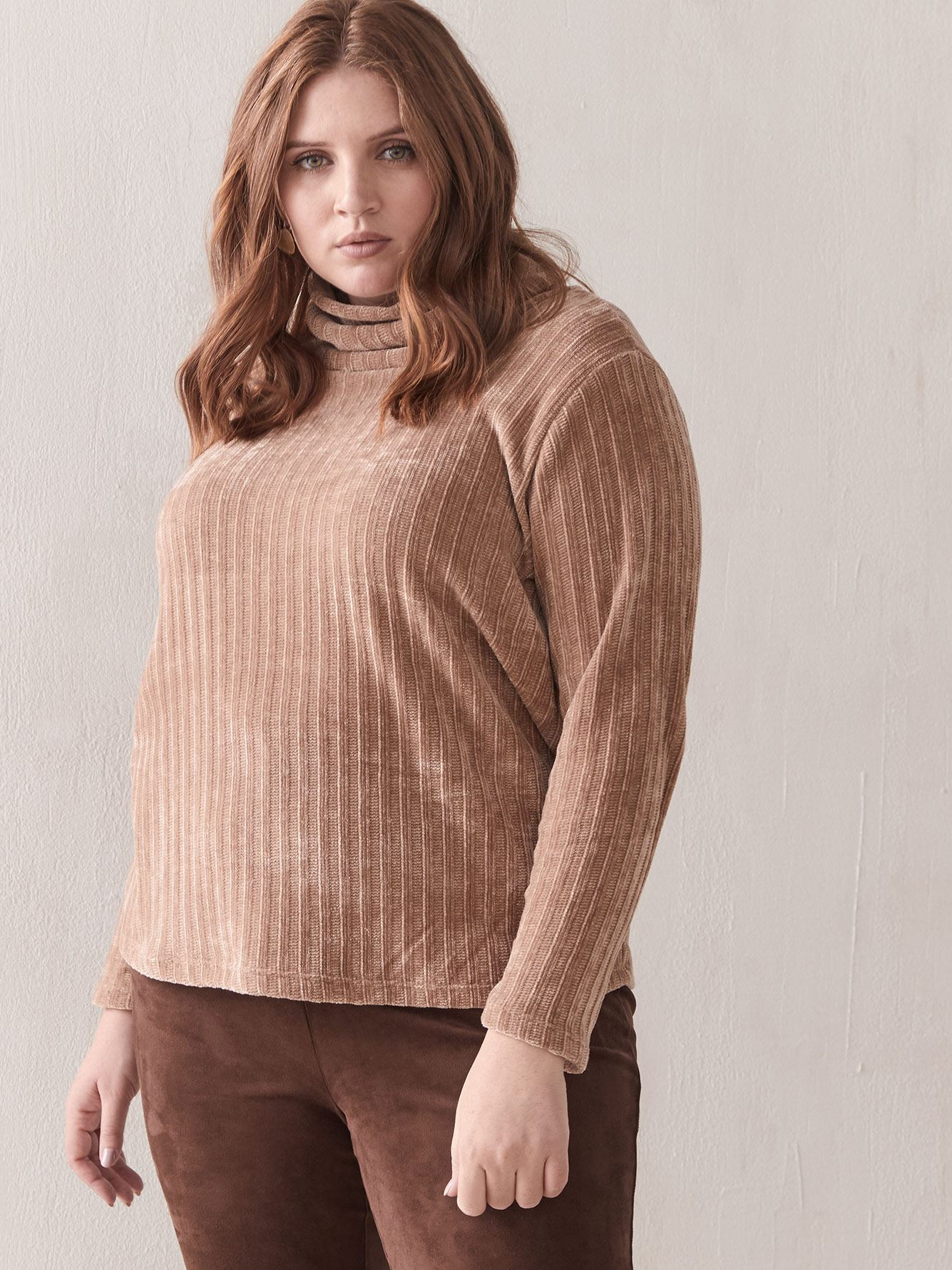 Cowl-Neck Chenille Top - Addition Elle