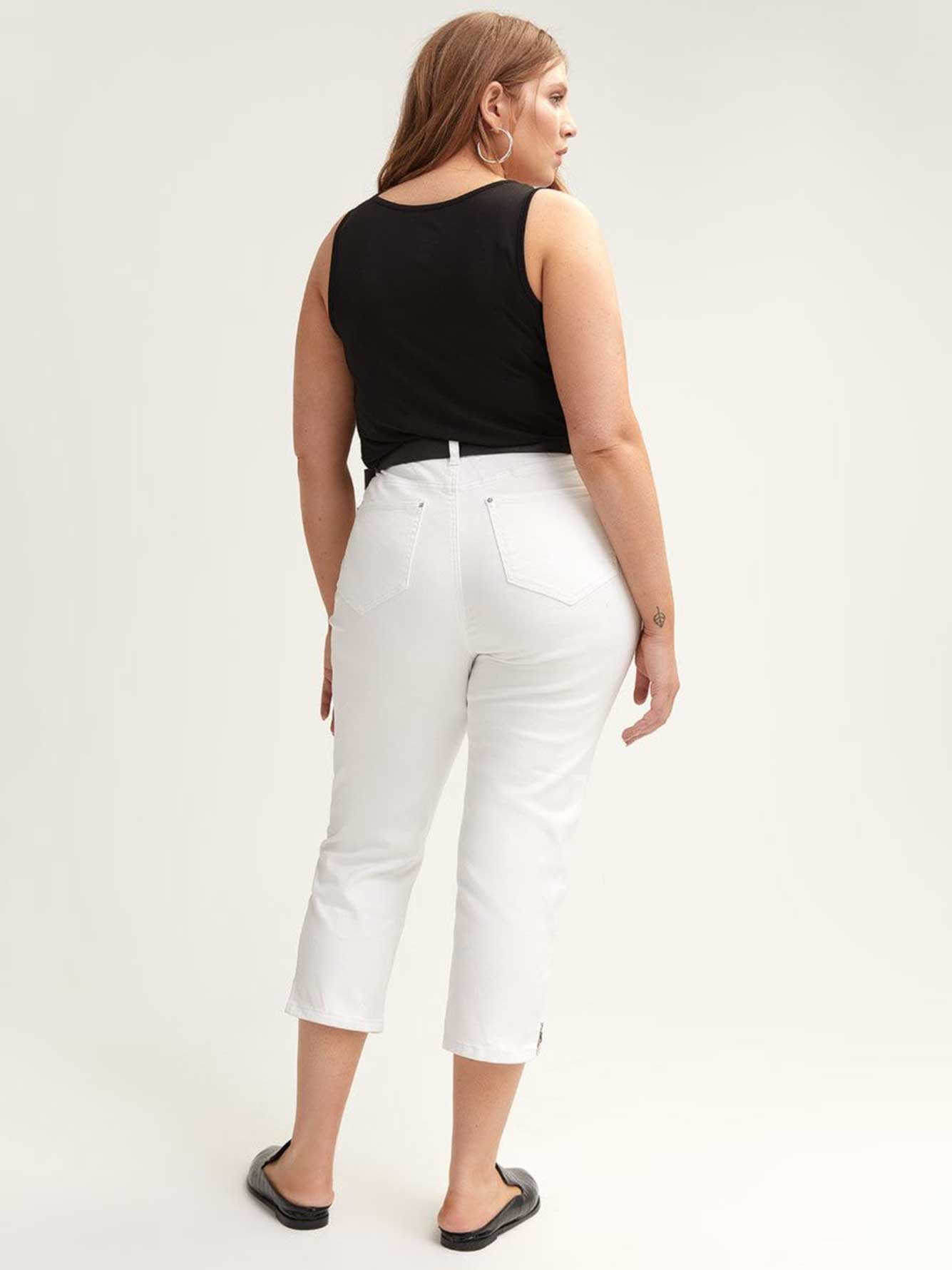 White Capri Jean with Exposed Zip
