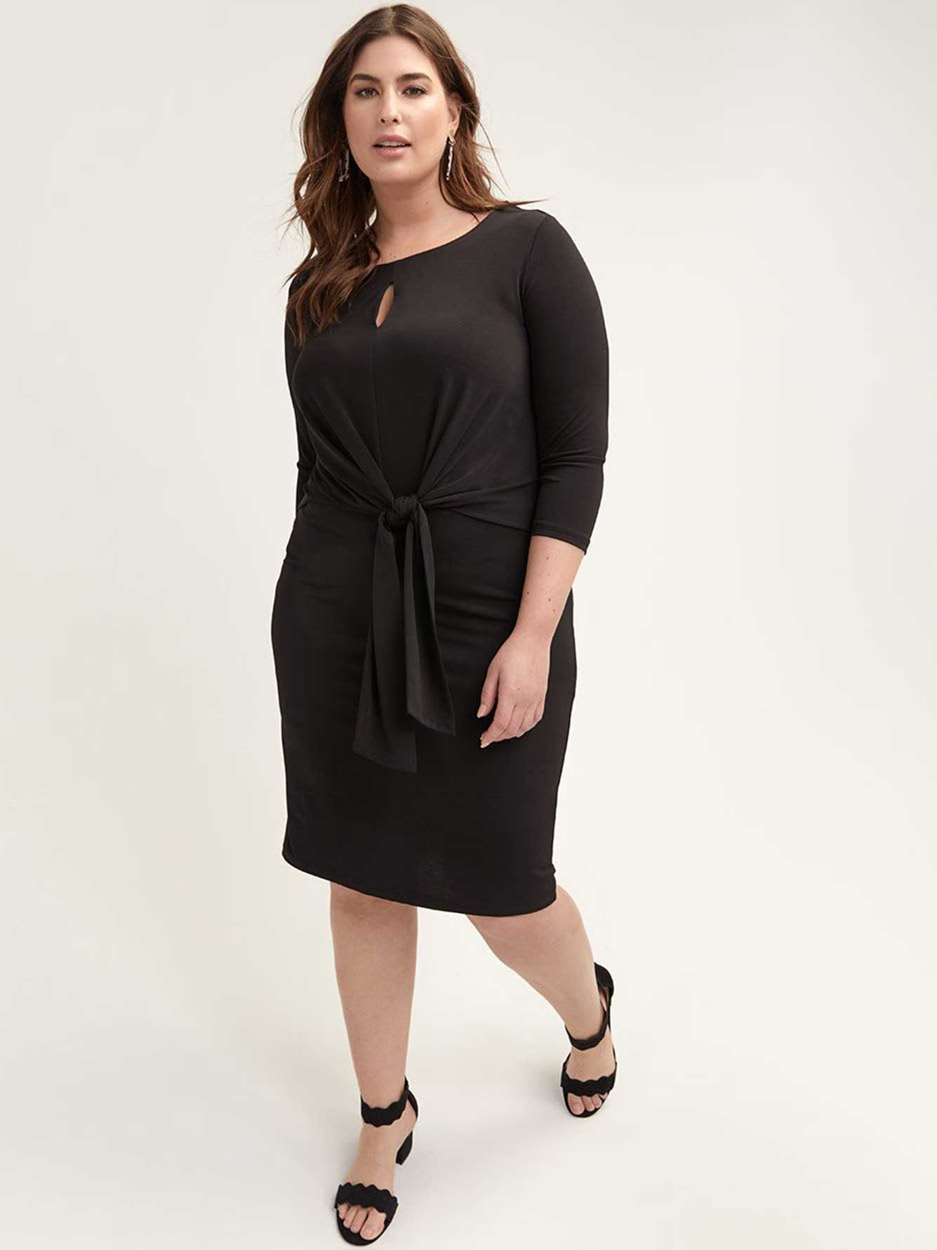 Black Fitted Jersey Dress with Front Knot