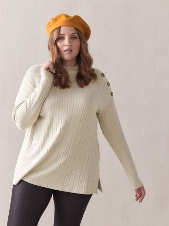 Ribbed Top with Button Detail - Addition Elle