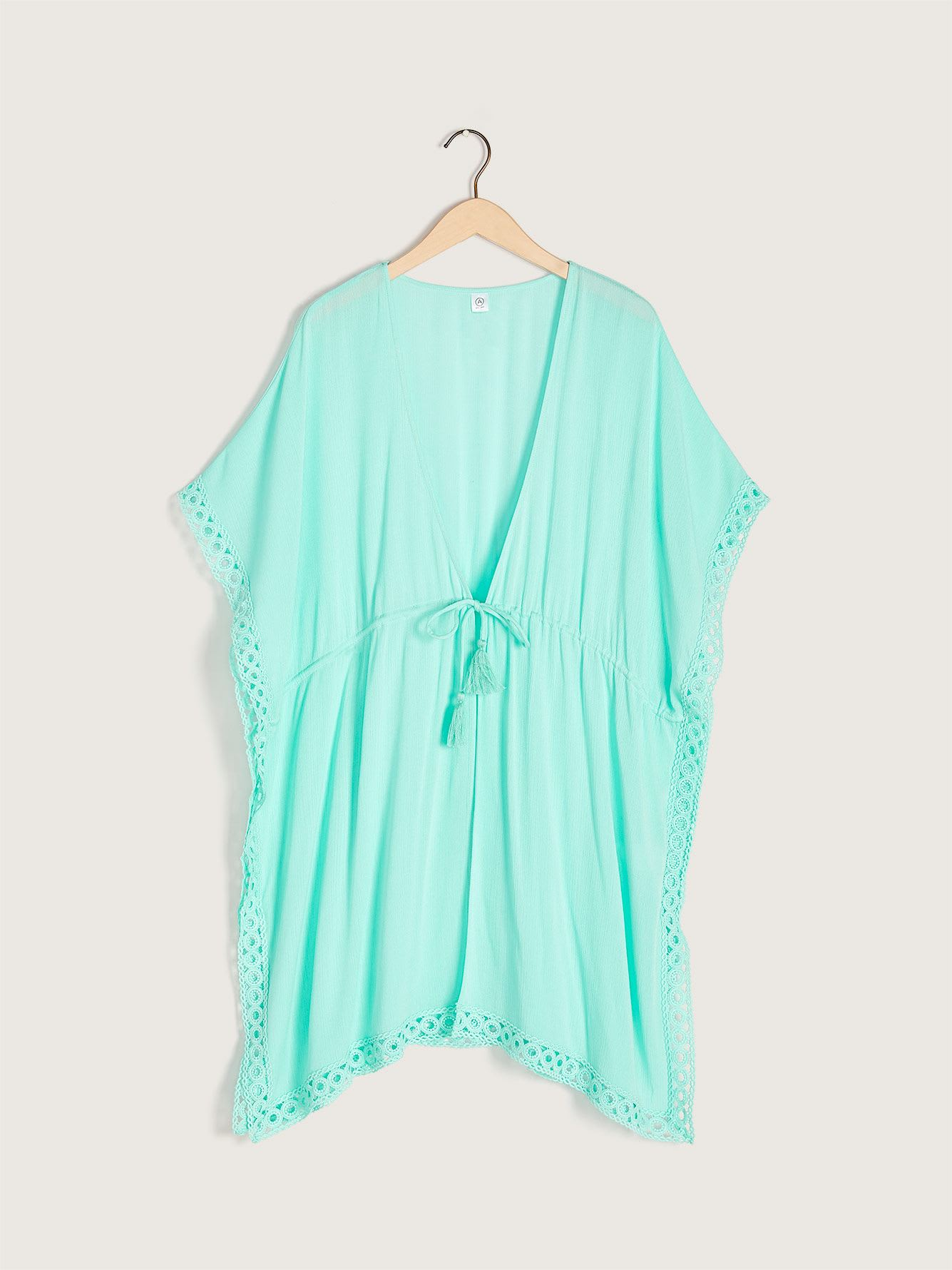 Solid Beach Cover Up with Crochet Trim - Sea