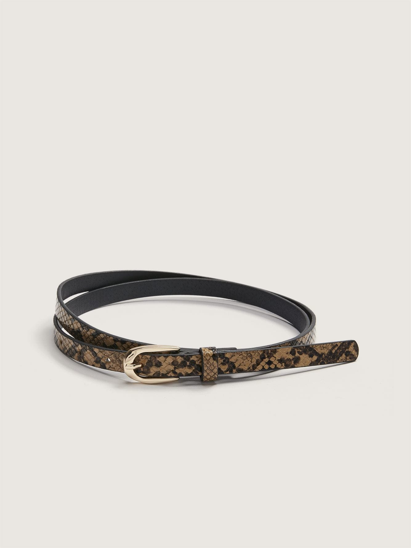 Printed Skinny Faux Leather Belt