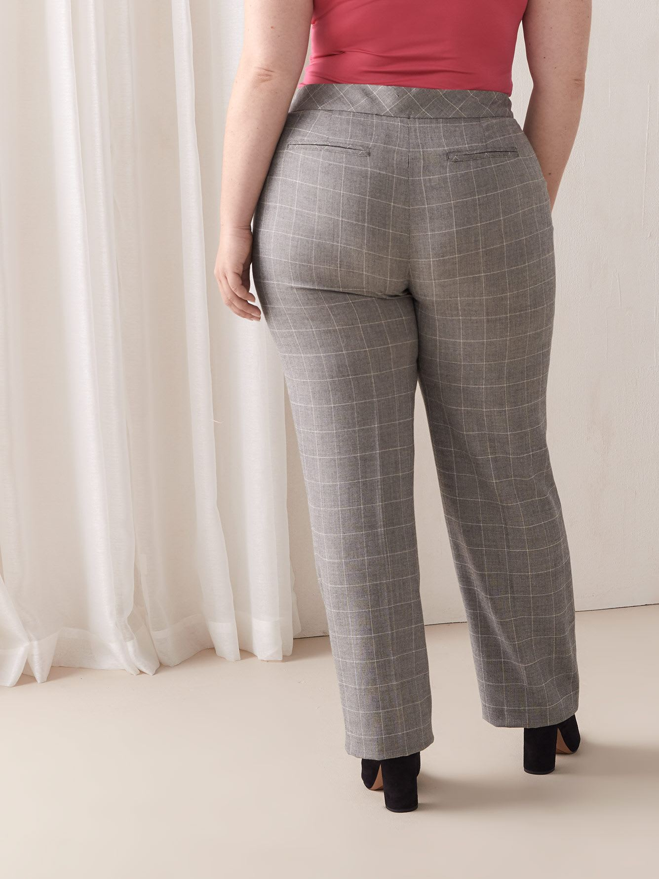 Petite, Windowpane Straight Leg Pant - Addition Elle