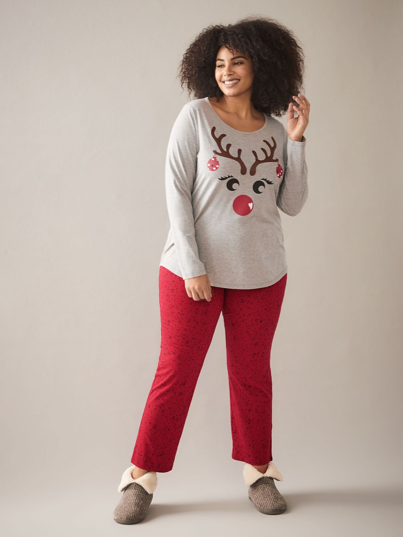 PJ Set with Reindeer Print Shirt - In Every Story