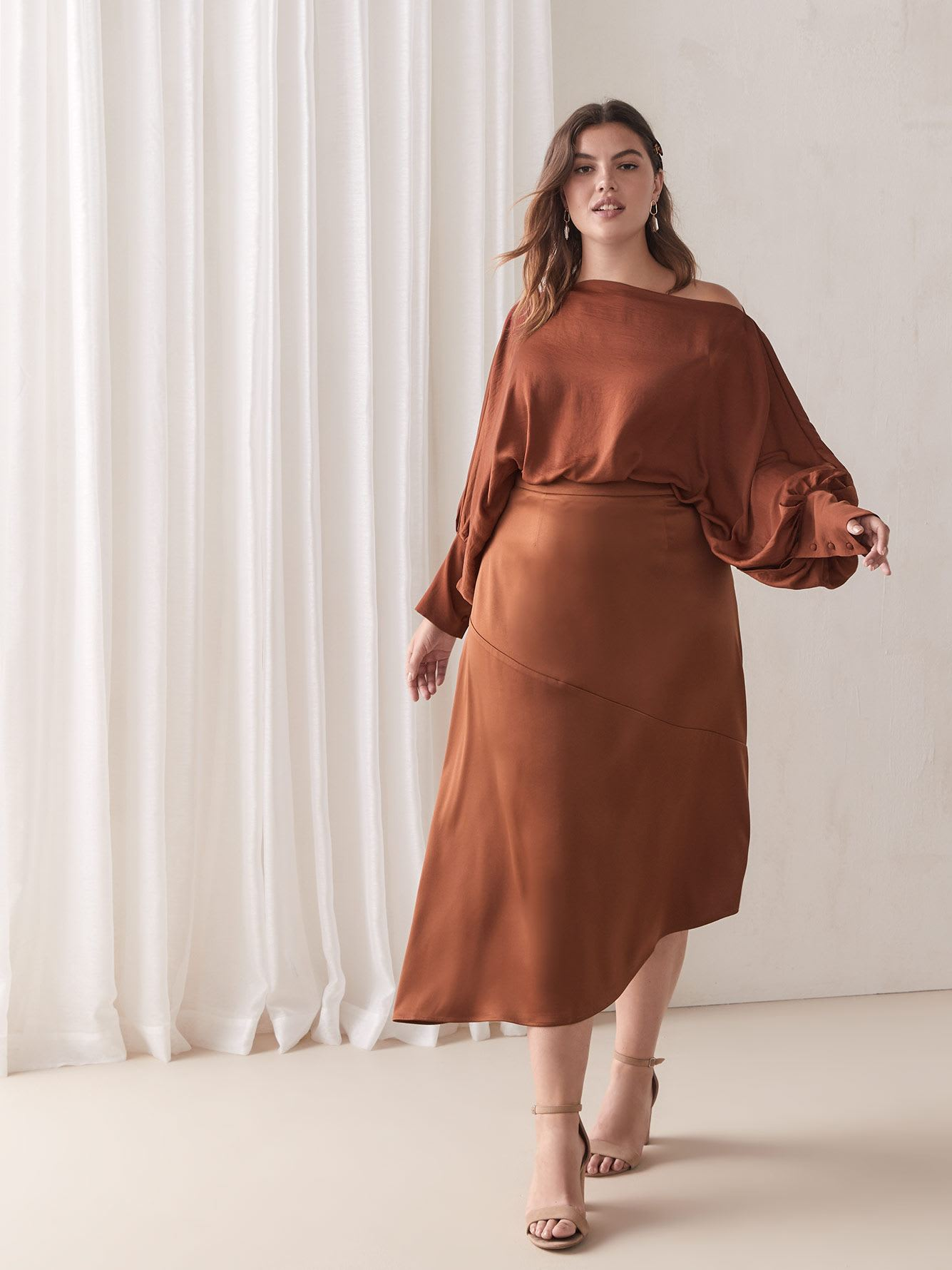 Asymmetric Satin Skirt - Addition Elle