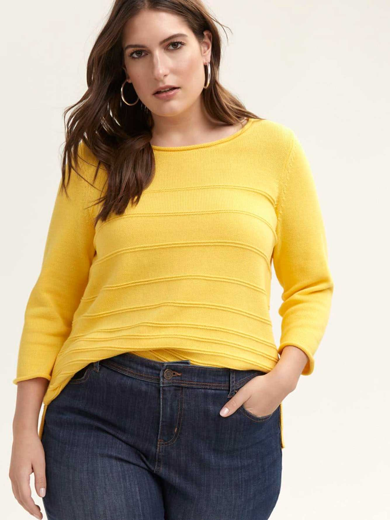 3/4 Sleeve Cotton Sweater with Stitching Detail - d/C JEANS