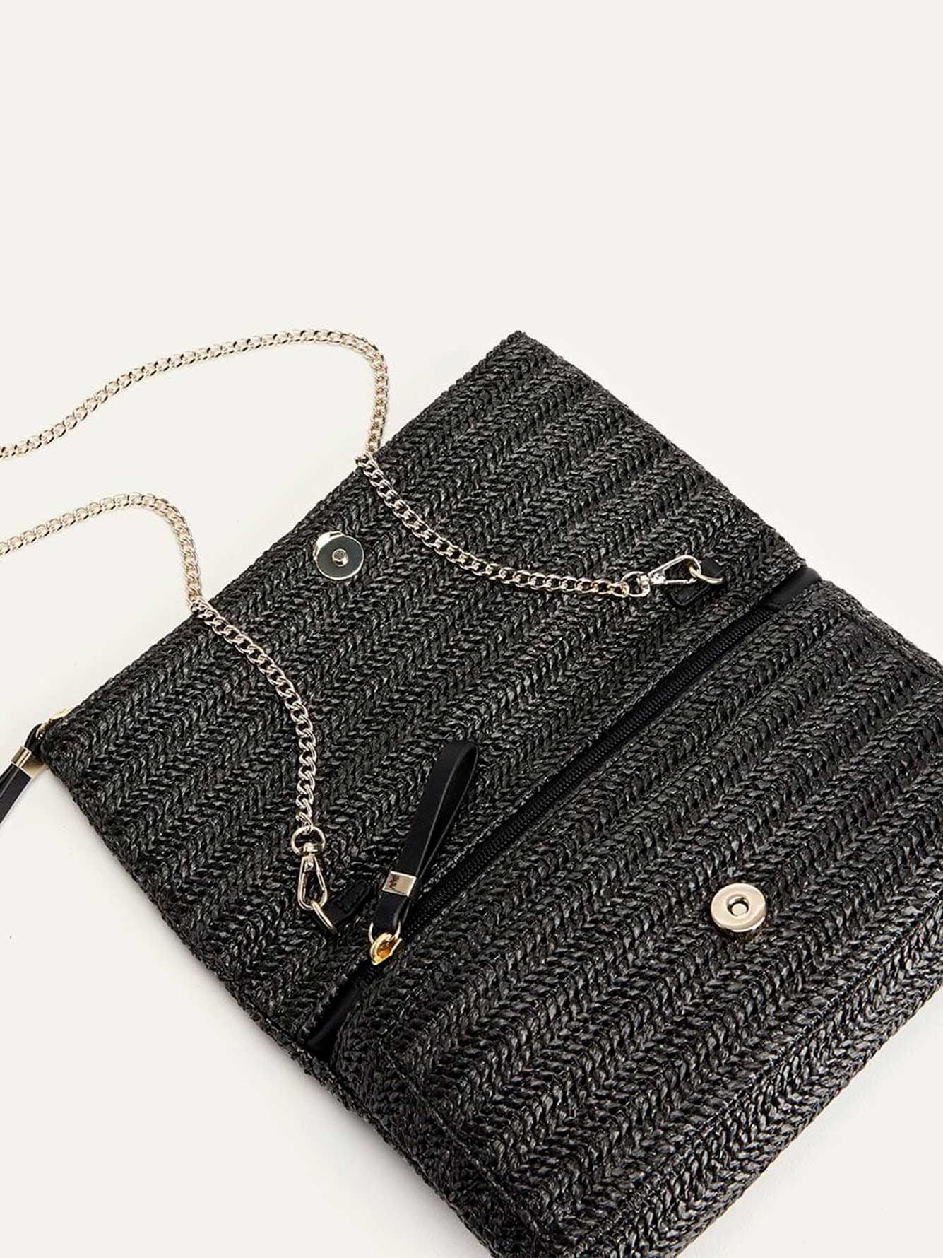 Straw Foldover Clutch - Addition Elle