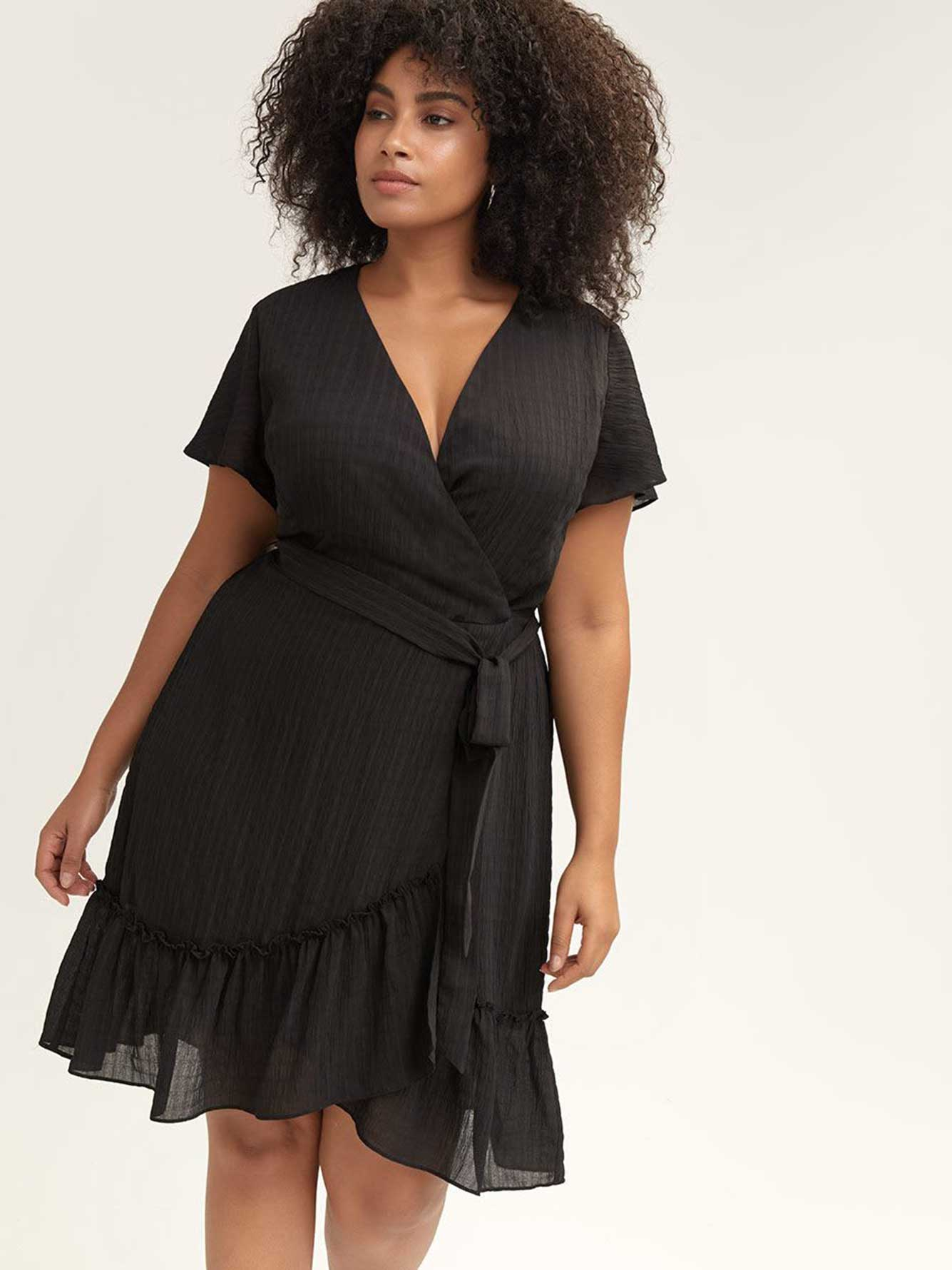 Black Wrap Dress - City Chic