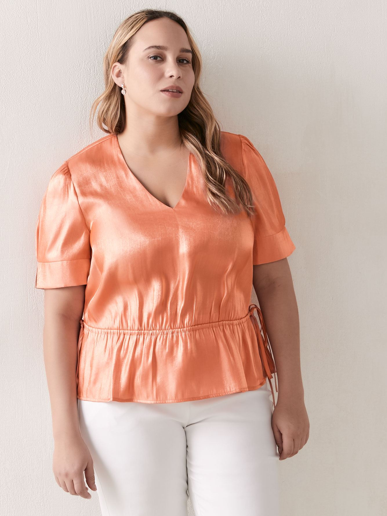 3/4 Sleeve Pleated Top - Addition Elle