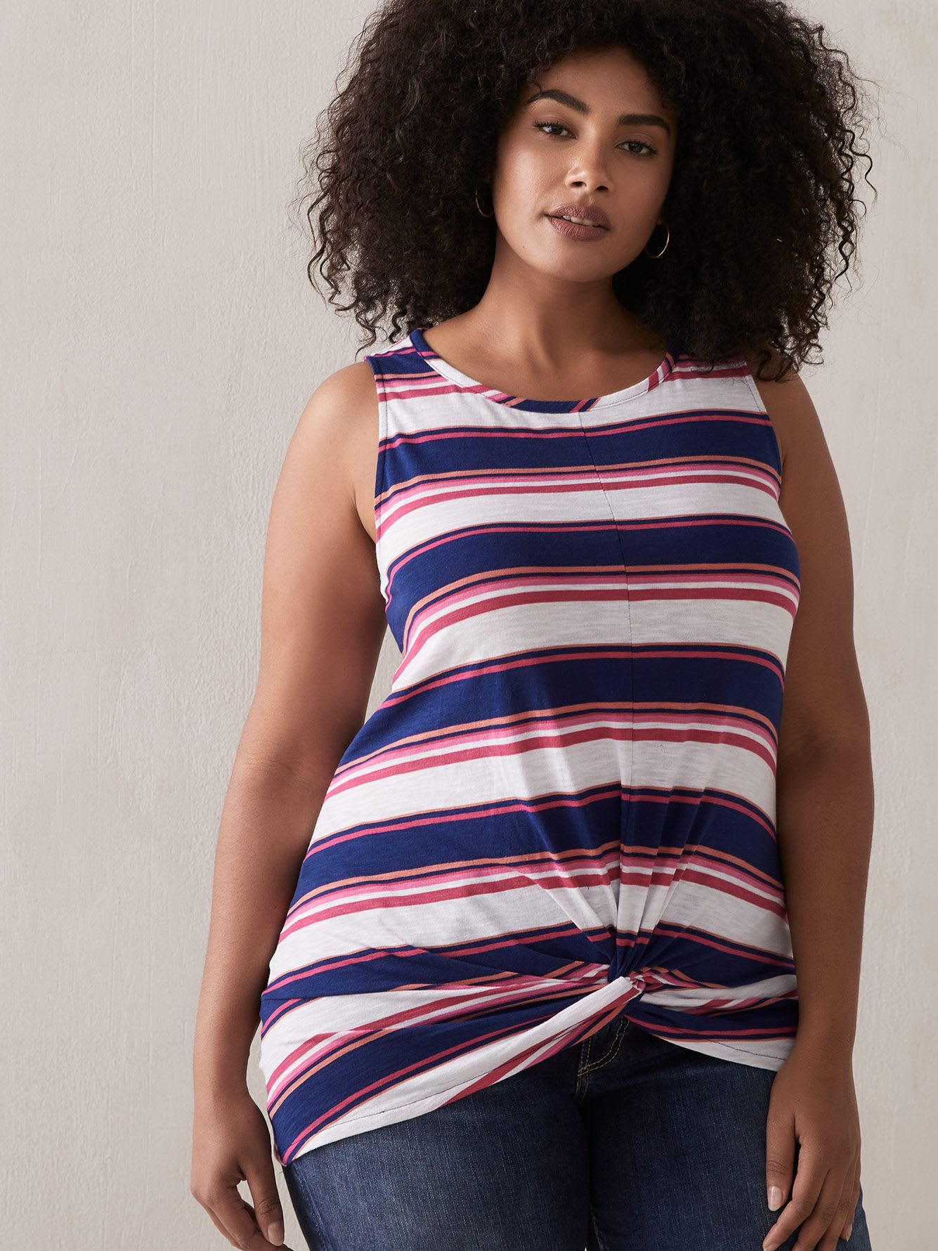 Boat Neck Tank Top with Twisted Front