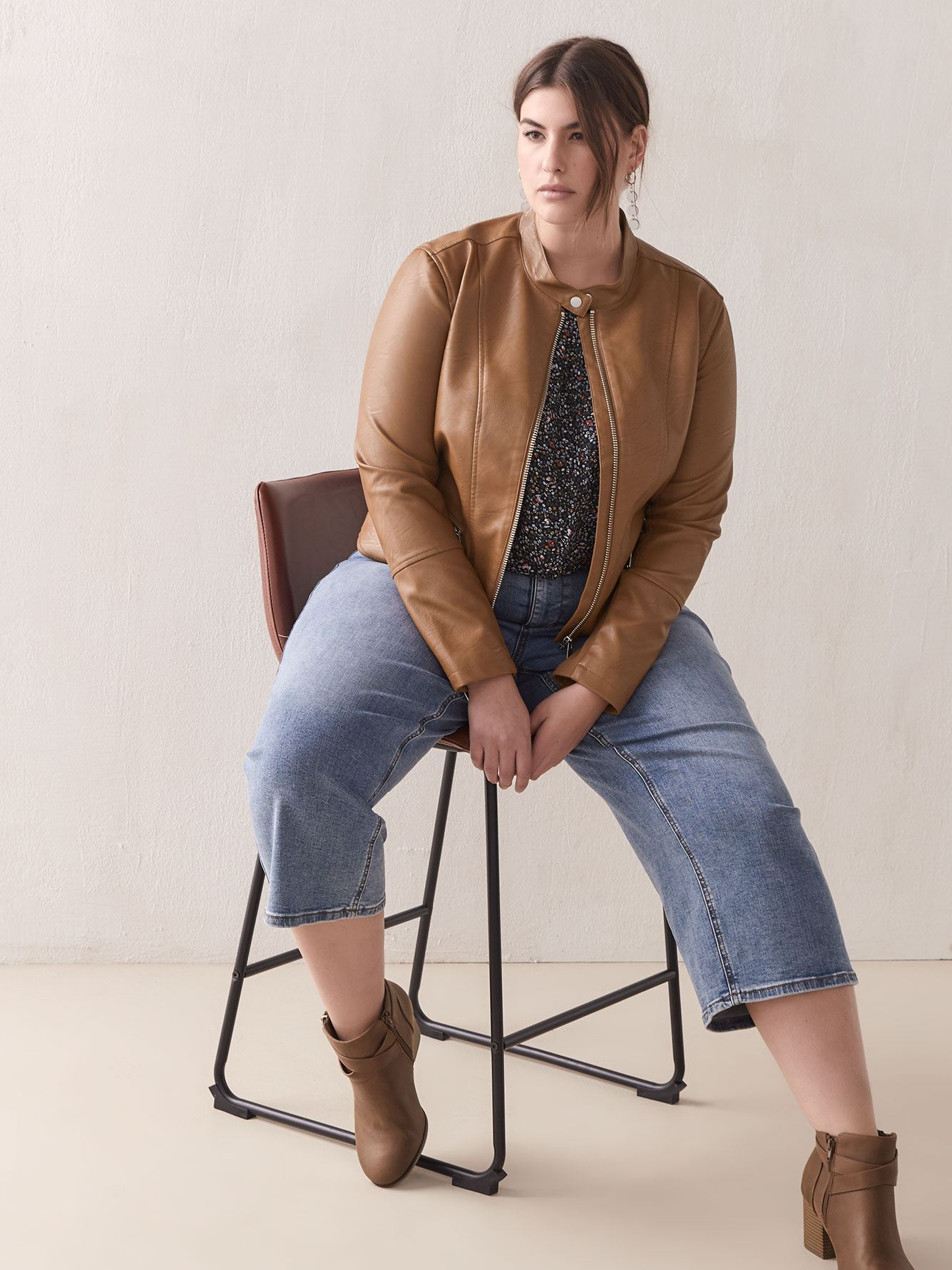 Cropped Faux Leather Jacket - Addition Elle