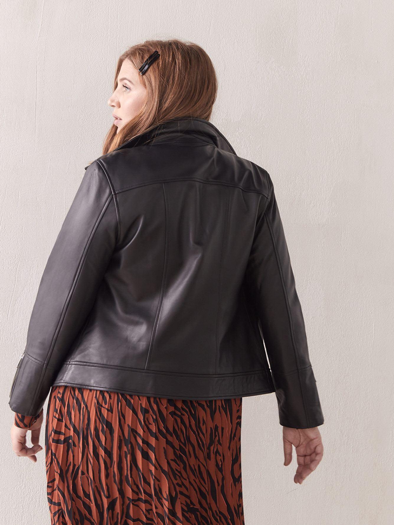 Black Leather Biker Jacket - Addition Elle