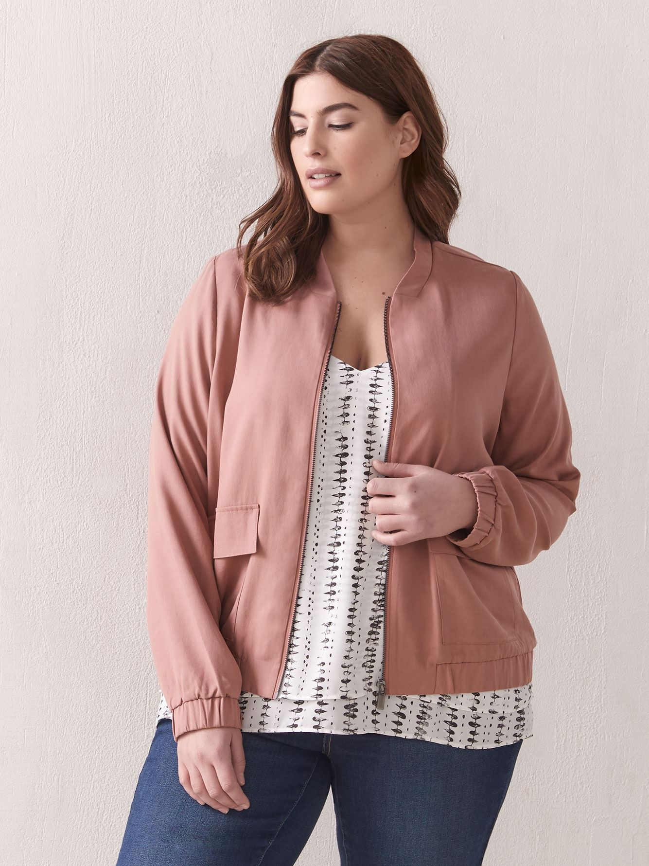 Woven Bomber Jacket - Addition Elle