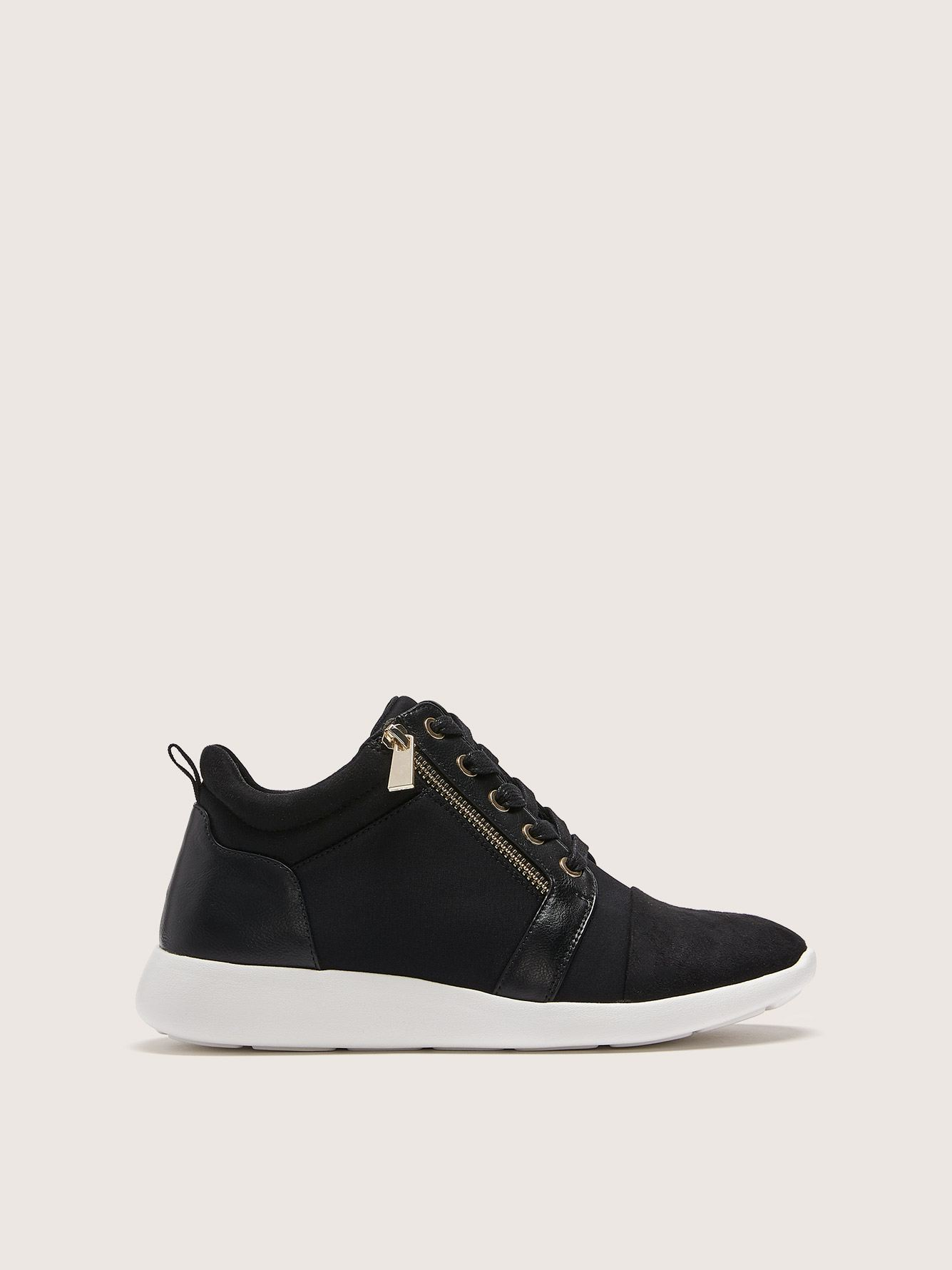 Wide Lace-Up Sneakers with Side Zip - Addition Elle