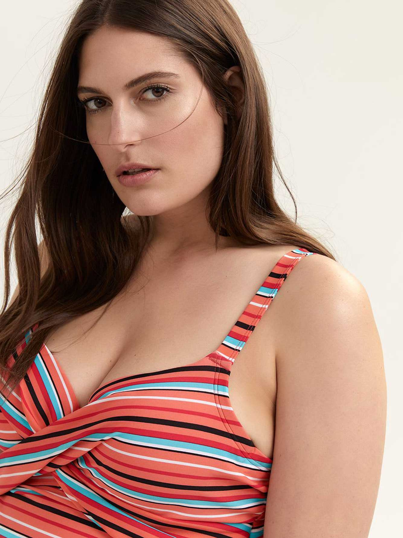 Striped Tankini Swim Top with Bra - Sea