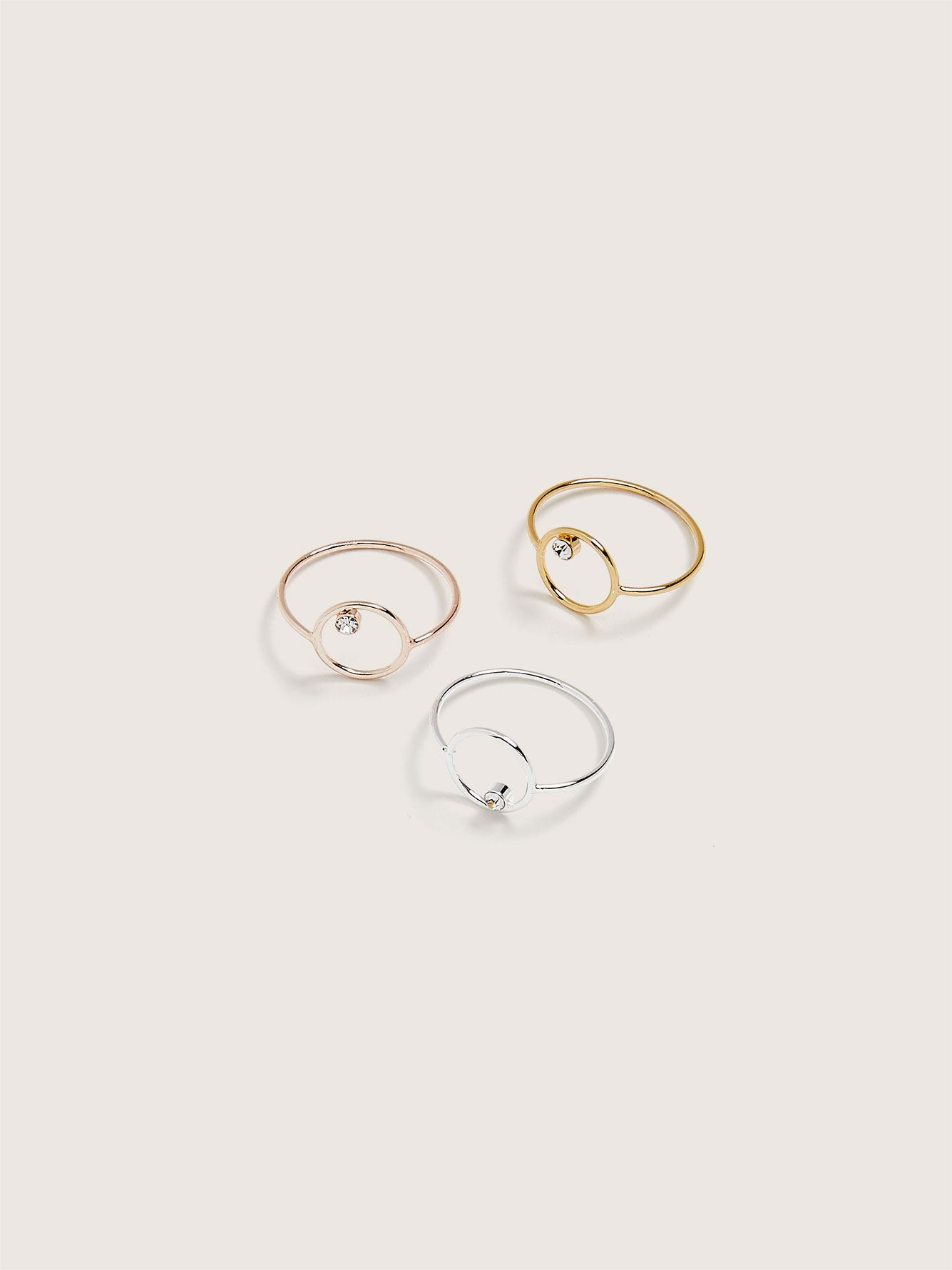 Pack of 3 Minimalist Rhinestone Rings - Addition Elle