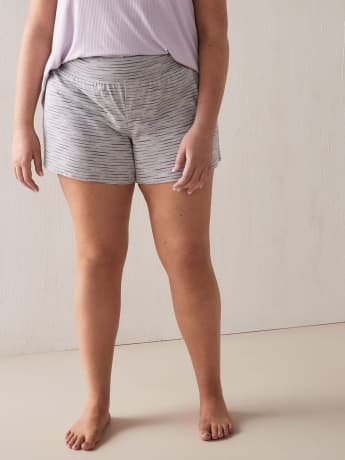 Heathered & Striped Pajama Short - Addition Elle