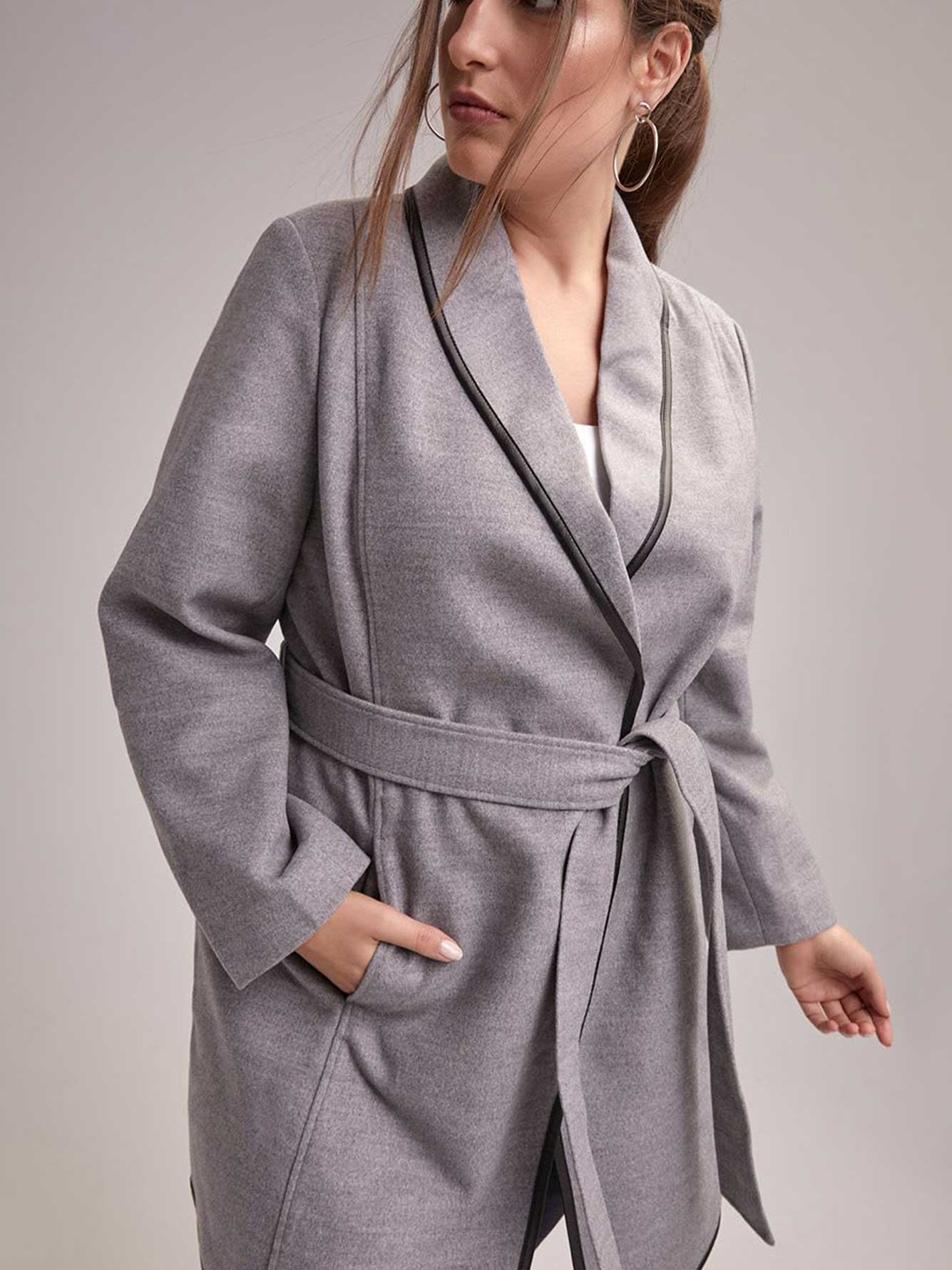 Belted Wrap Coat with Faux-Leather Detail - In Every Story