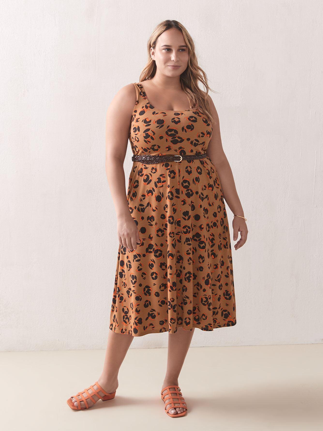 Printed Sleeveless Midi Fit & Flare Dress - Addition Elle