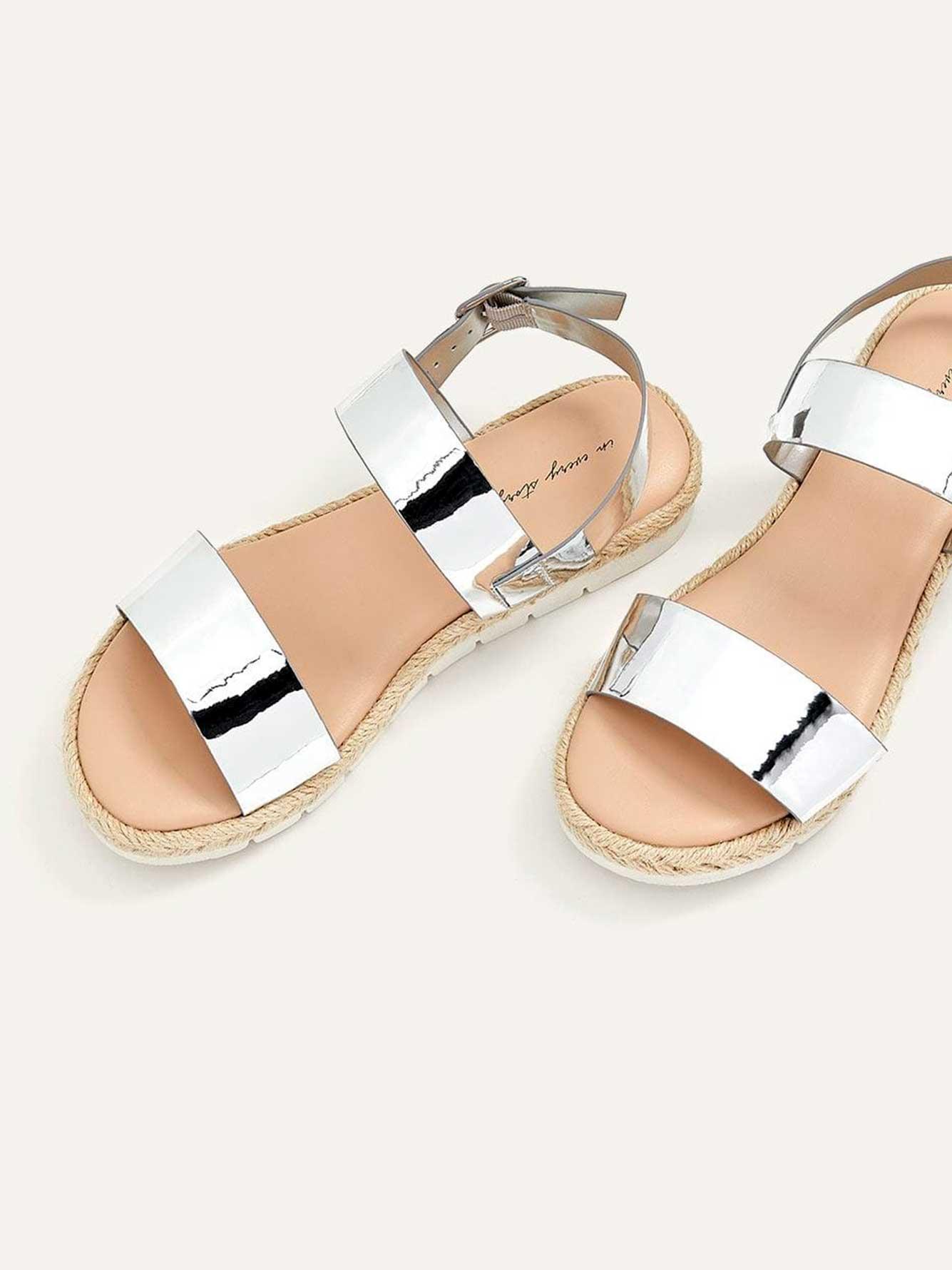 Wide Flat Metallic Sandals