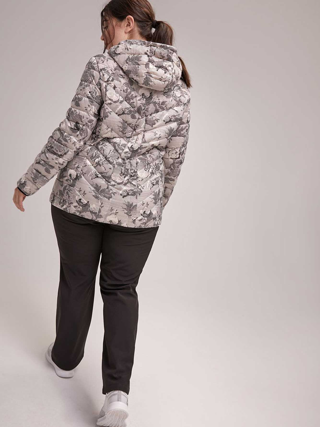 Plus Size Printed Packable Jacket with Hood - ActiveZone