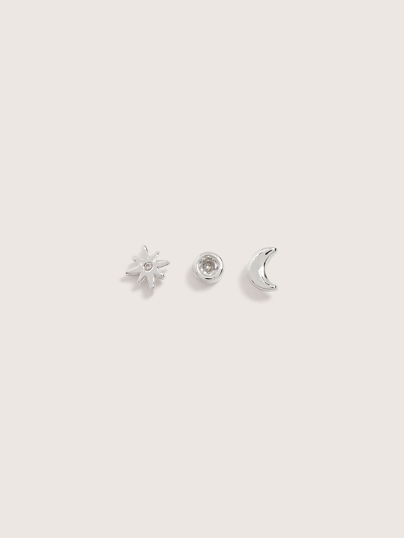 Moon & Star Stud Earrings, 3-Pack - Addition Elle