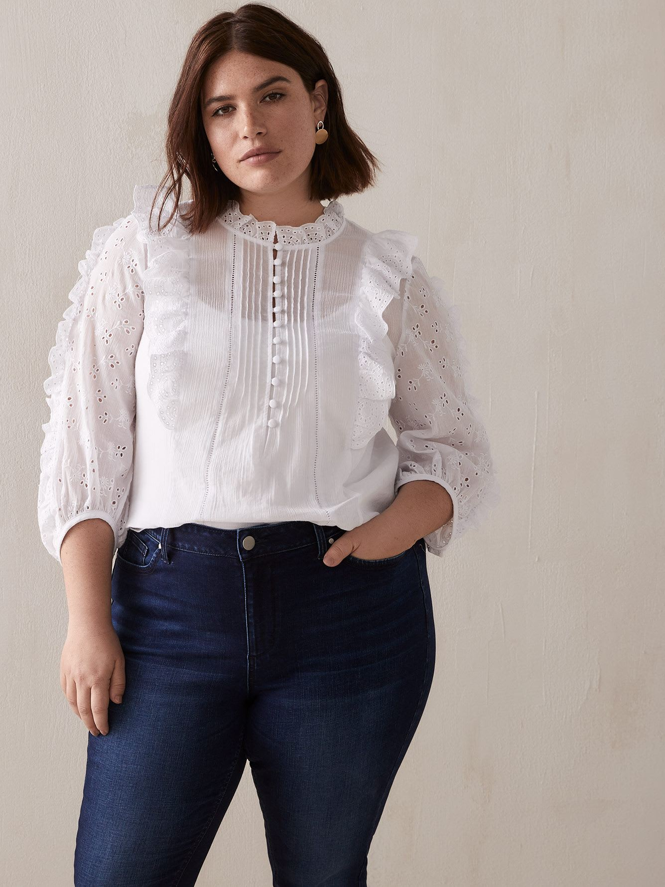 Ruffle Pin-tuck Shirt