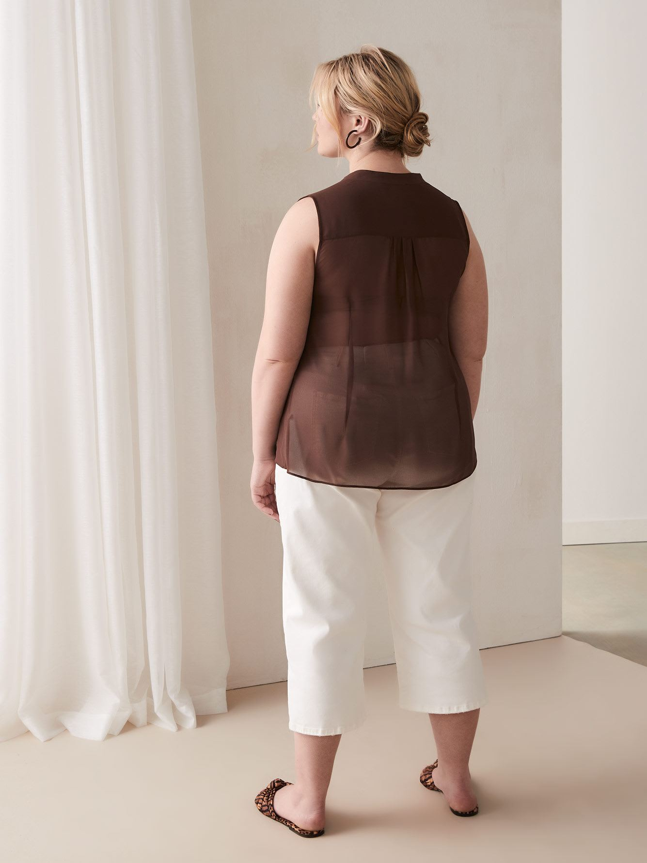 Sleeveless Blouse with Pin-Tuck Details