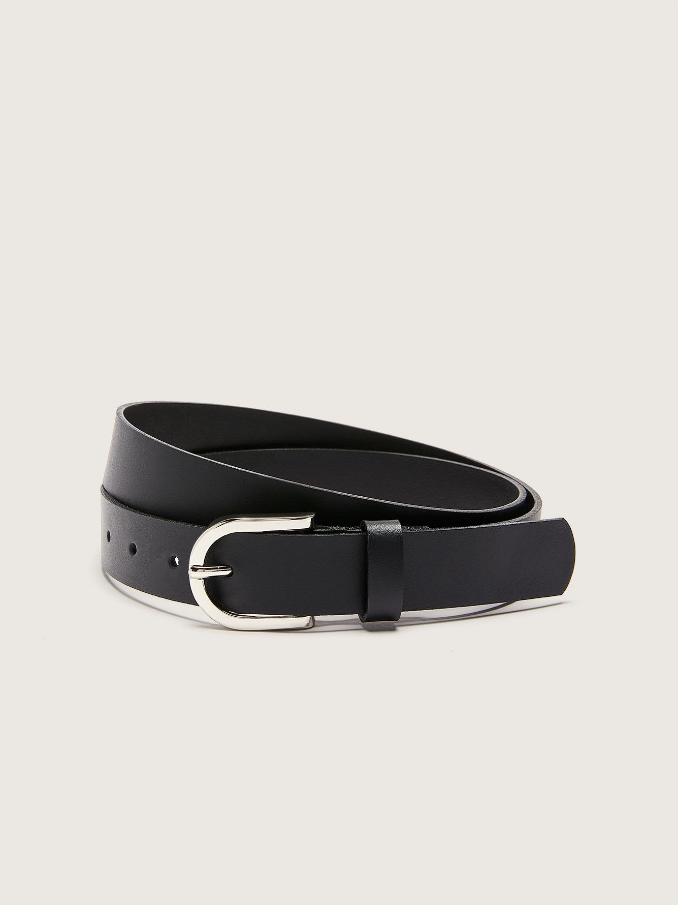 Basic Black Leather Belt - Addition Elle