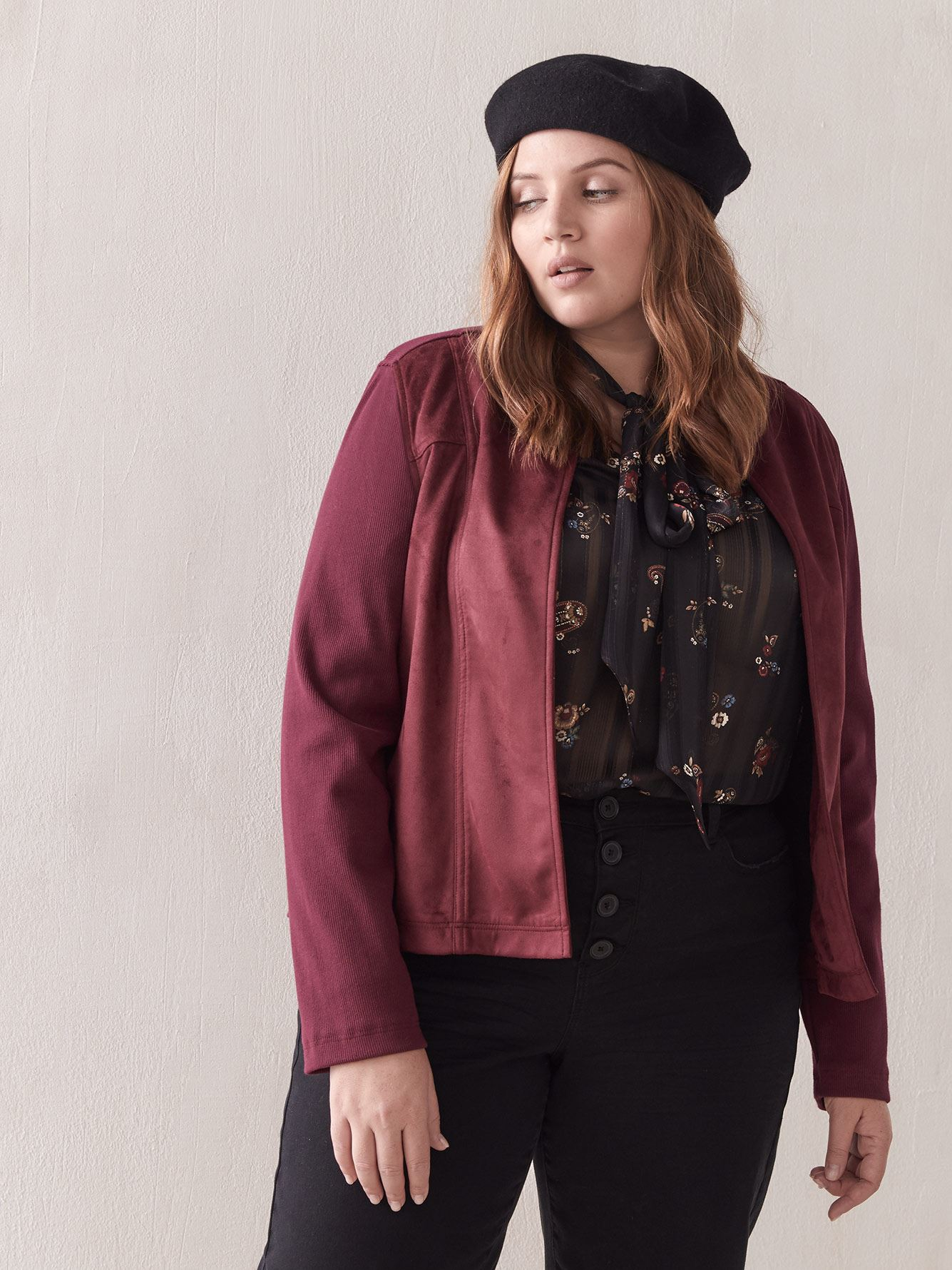 Faux Suede Mxed-Media Jacket - Addition Elle
