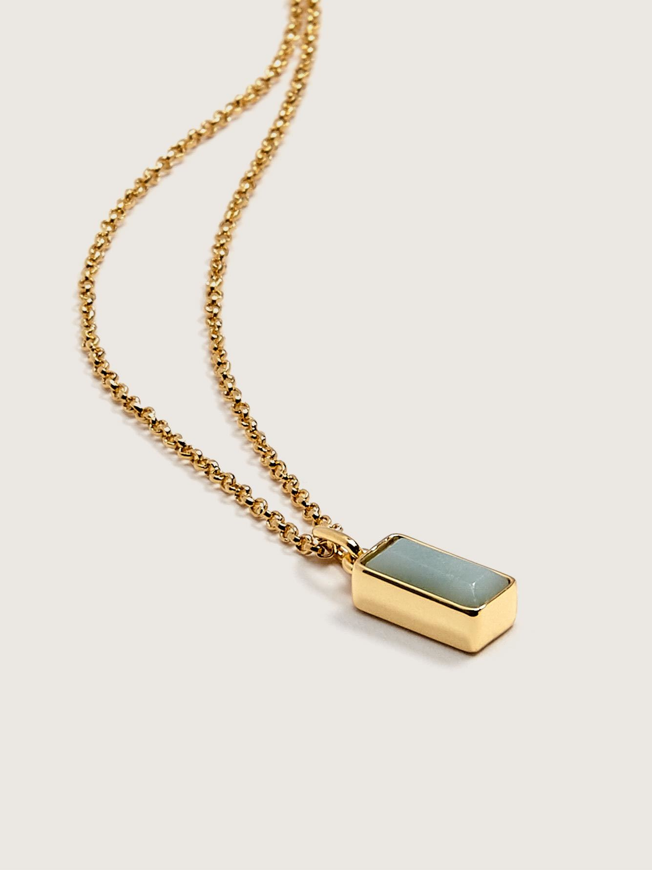Necklace with Semi-Precious Amazonite Stone Pendant - Addition Elle