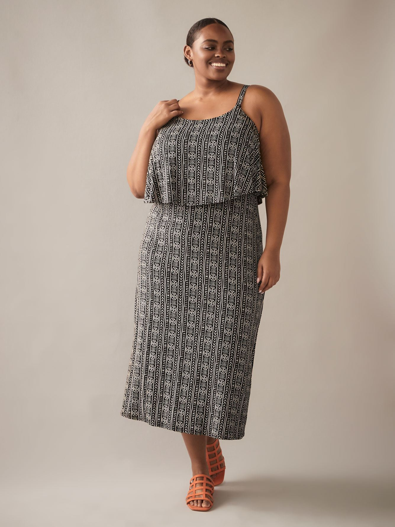 Printed Maxi Dress with Overlay Top - In Every Story