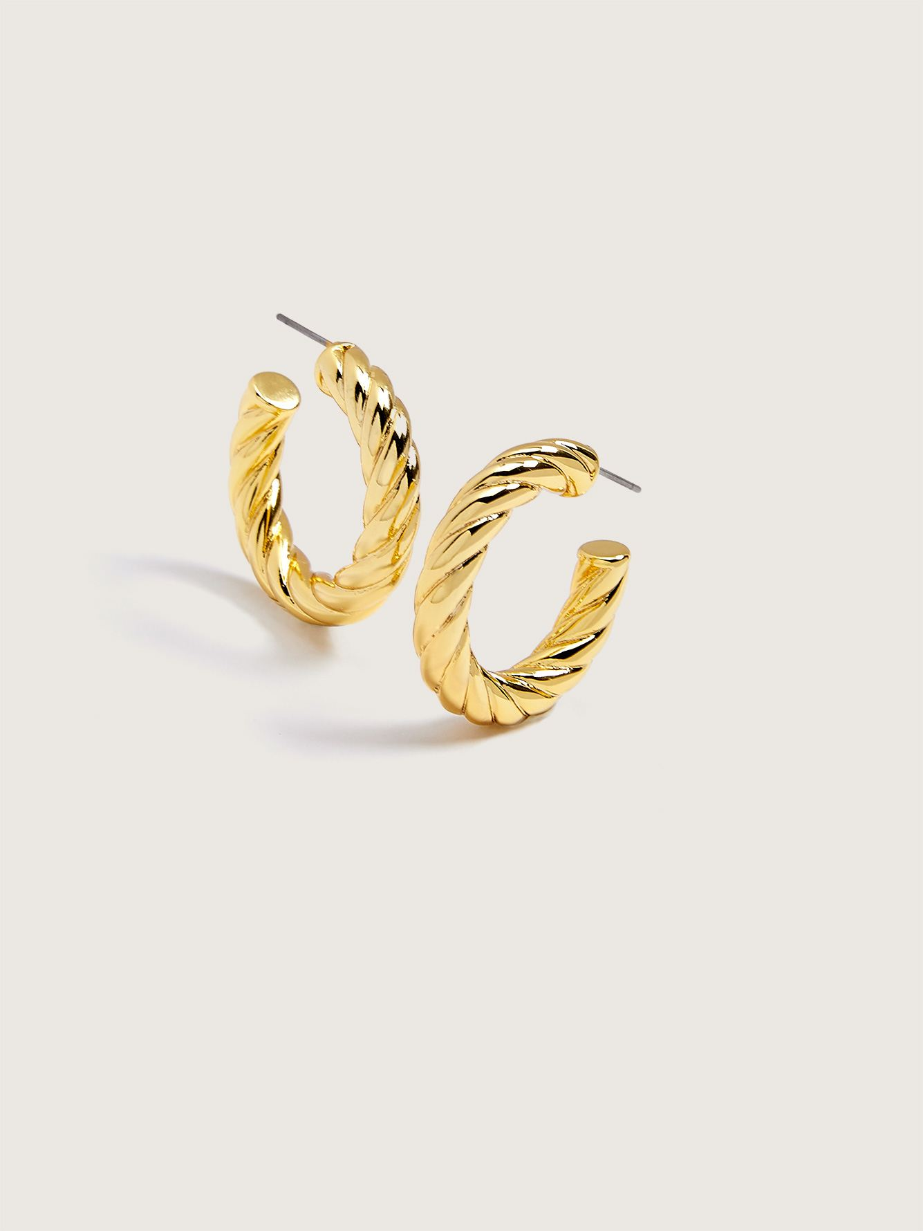 Gold Plated Twisted Hoop Earrings - Addition Elle