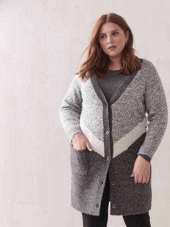 Button-Front Color-Block Cardigan - Addition Elle