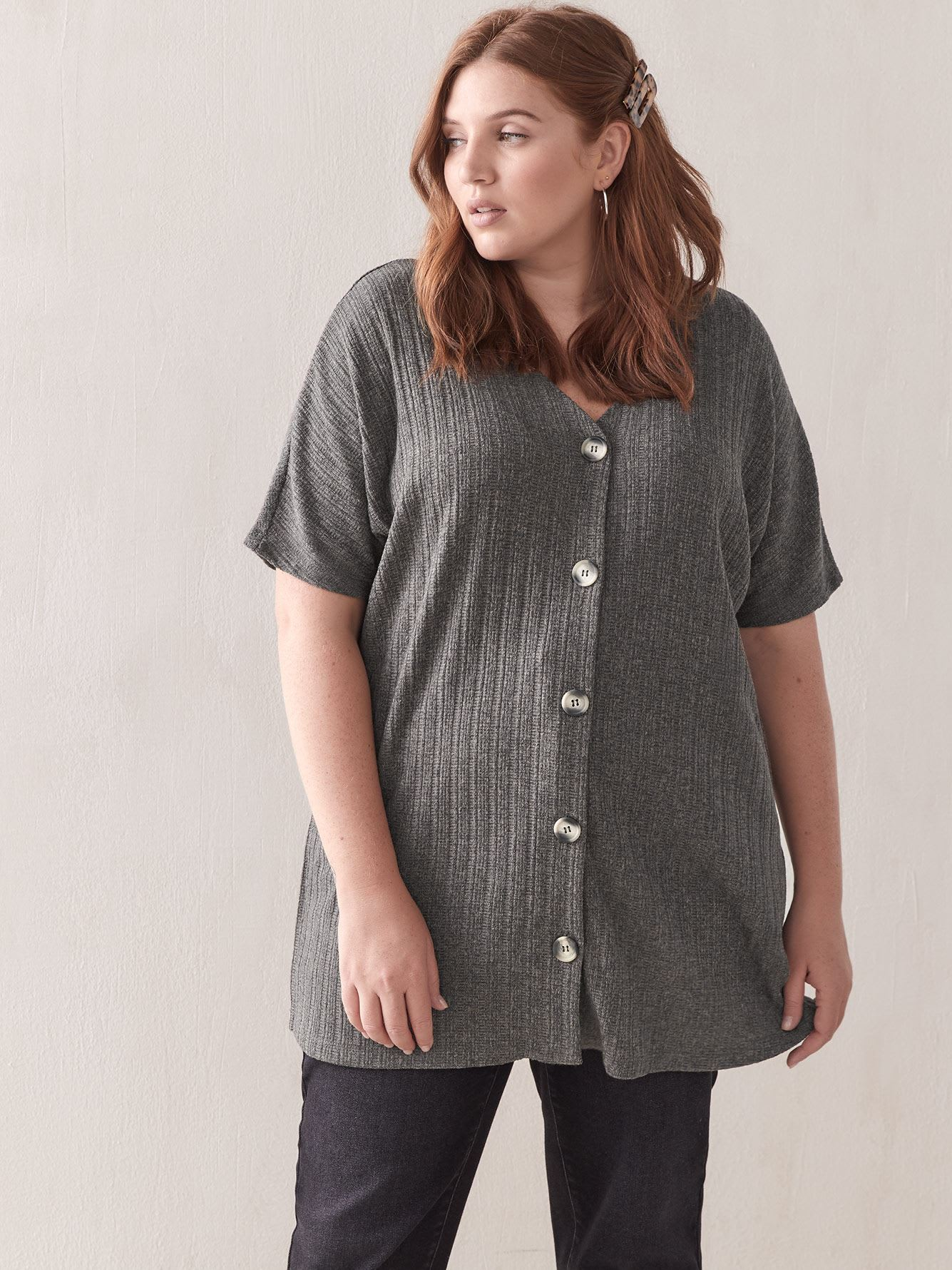 Short-Sleeve Button-Down Top - Addition Elle