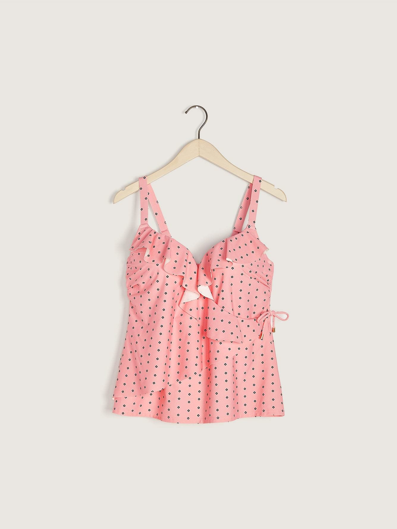 Printed Bra Fit Tankini Top with Ruffle Detail - Addition Elle