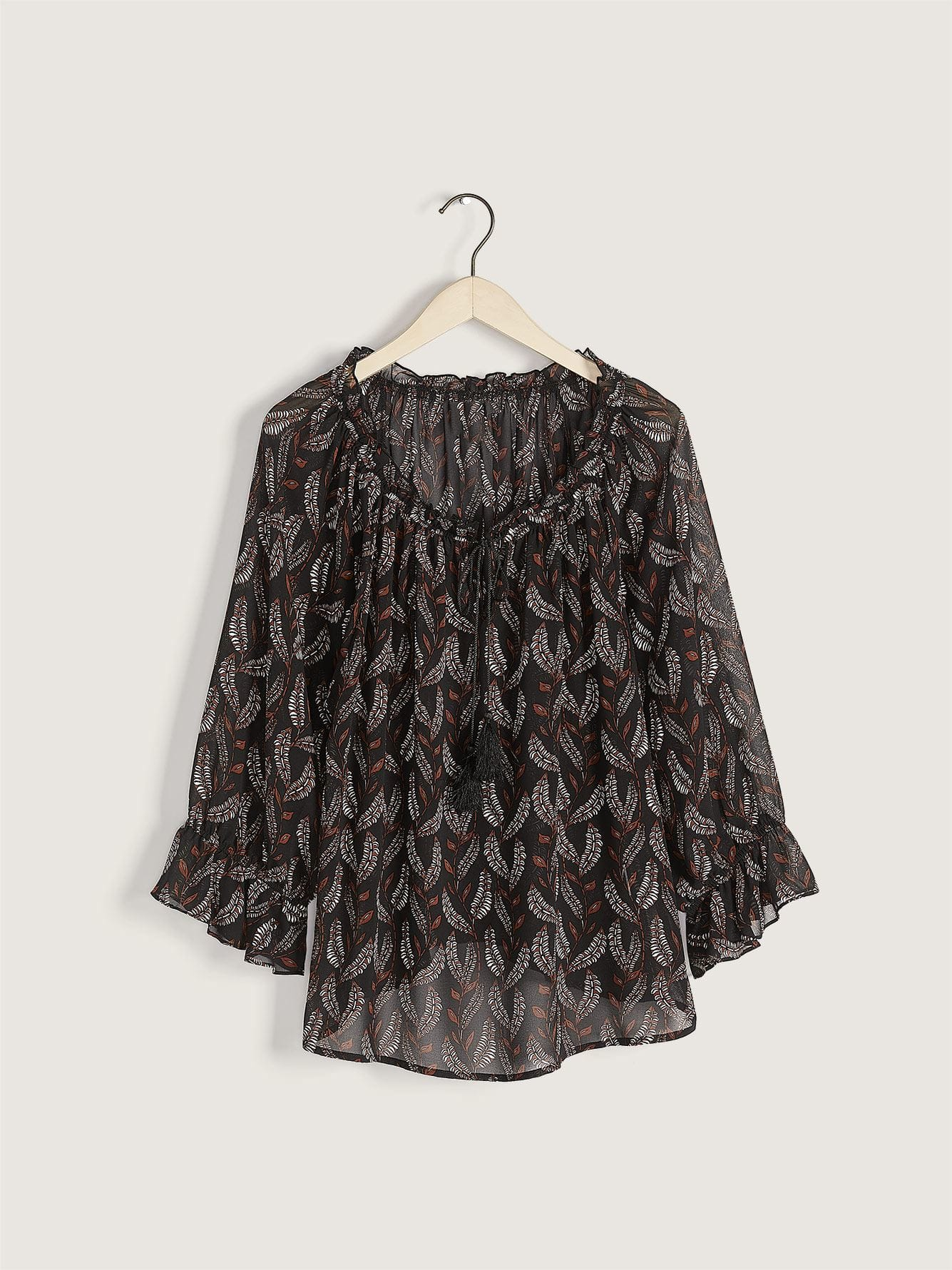 Peasant Blouse with Frilled Neckline