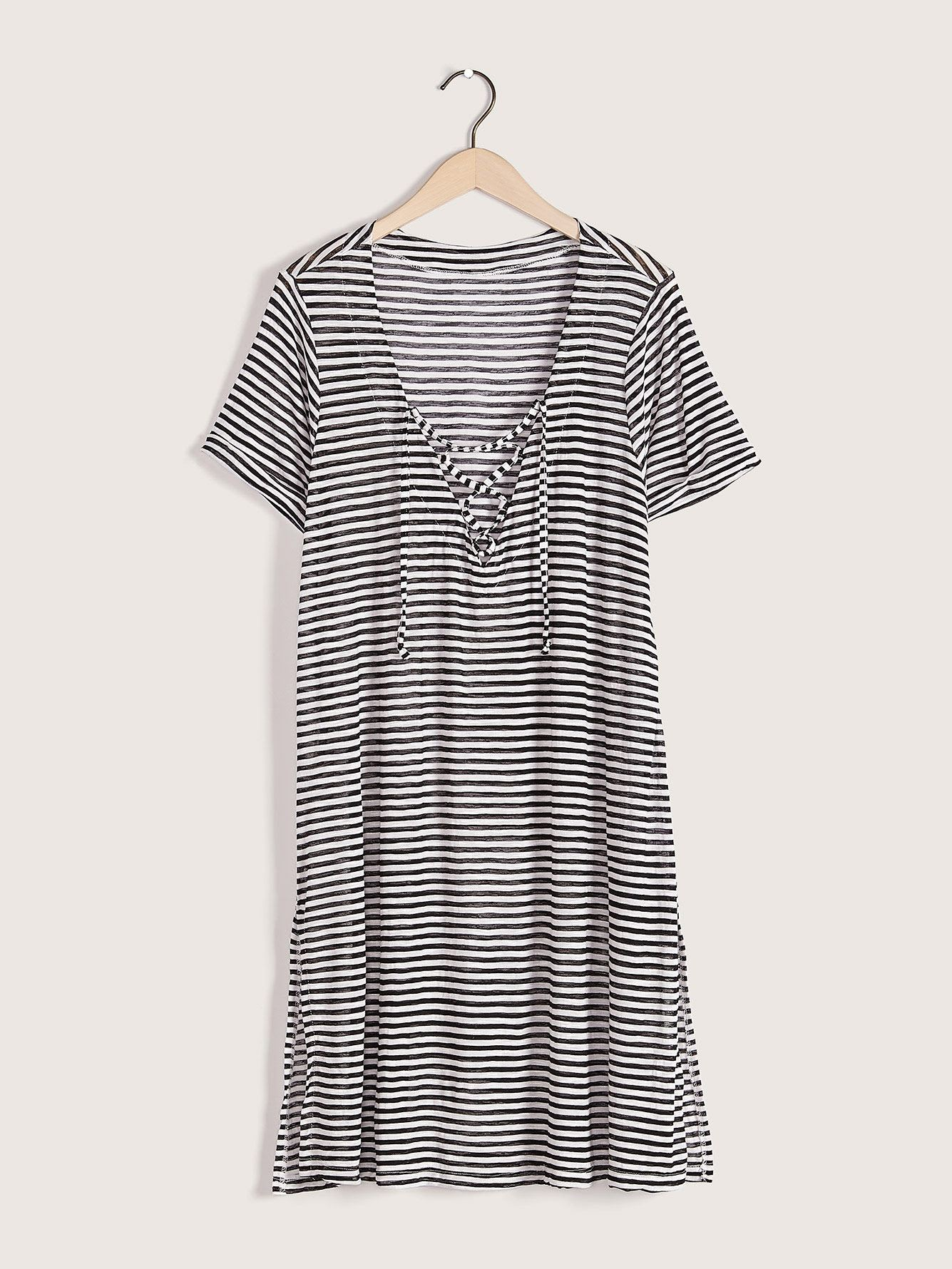 Striped V-Neck Lace Up Tunic Cover Up - Cover Me