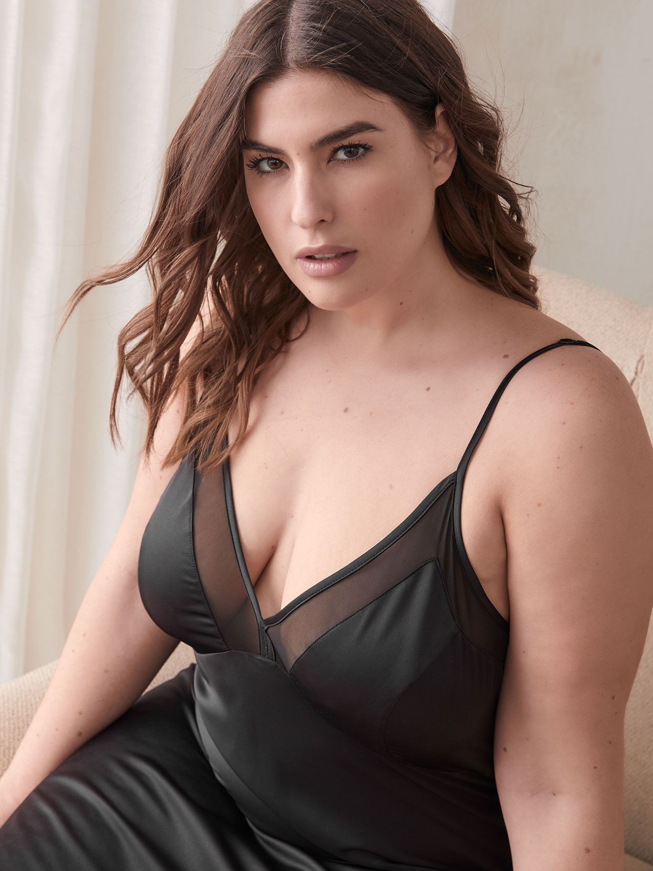 Satin Babydoll with Mesh - Ashley Graham