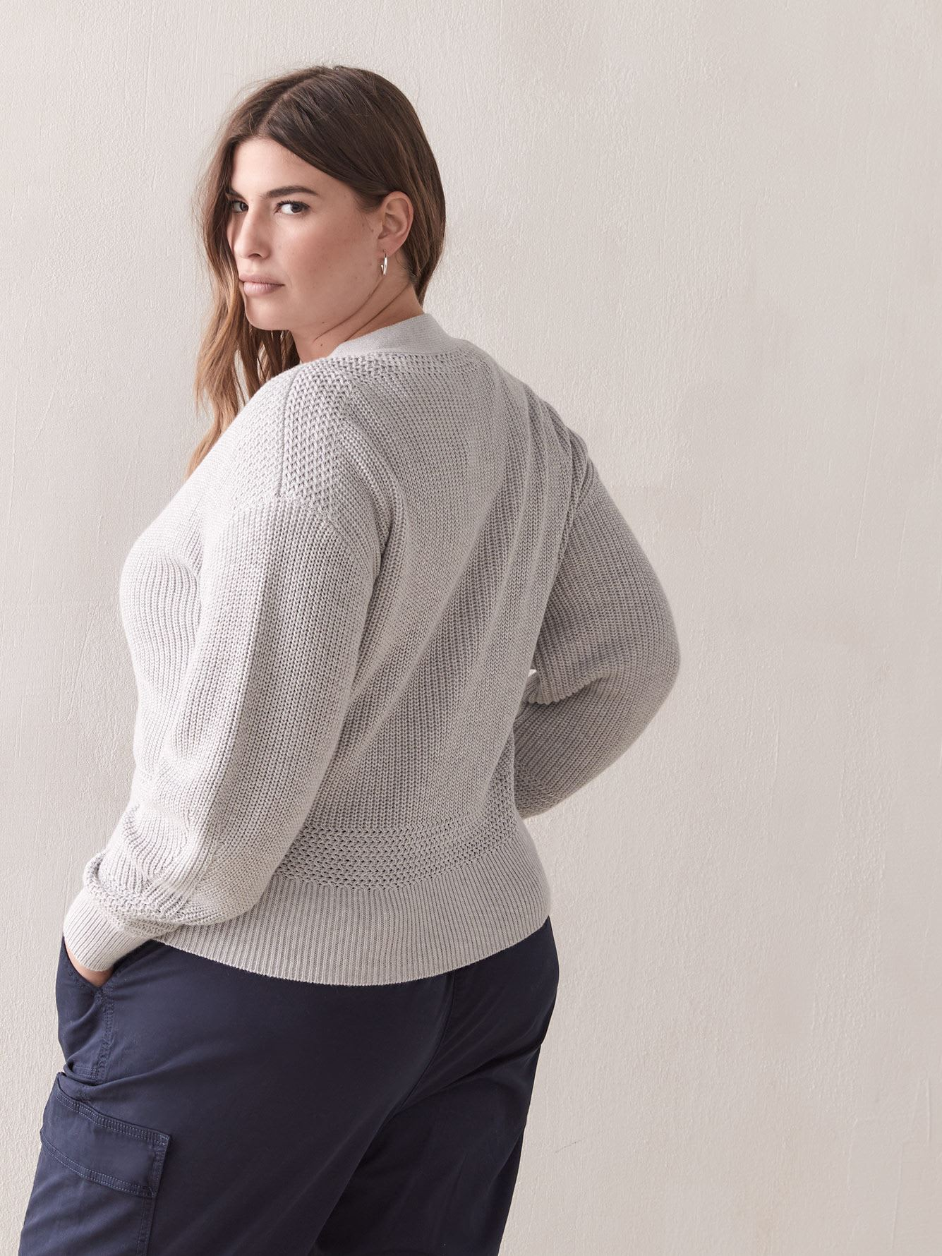 Button-Front Cropped Cardigan - Addition Elle