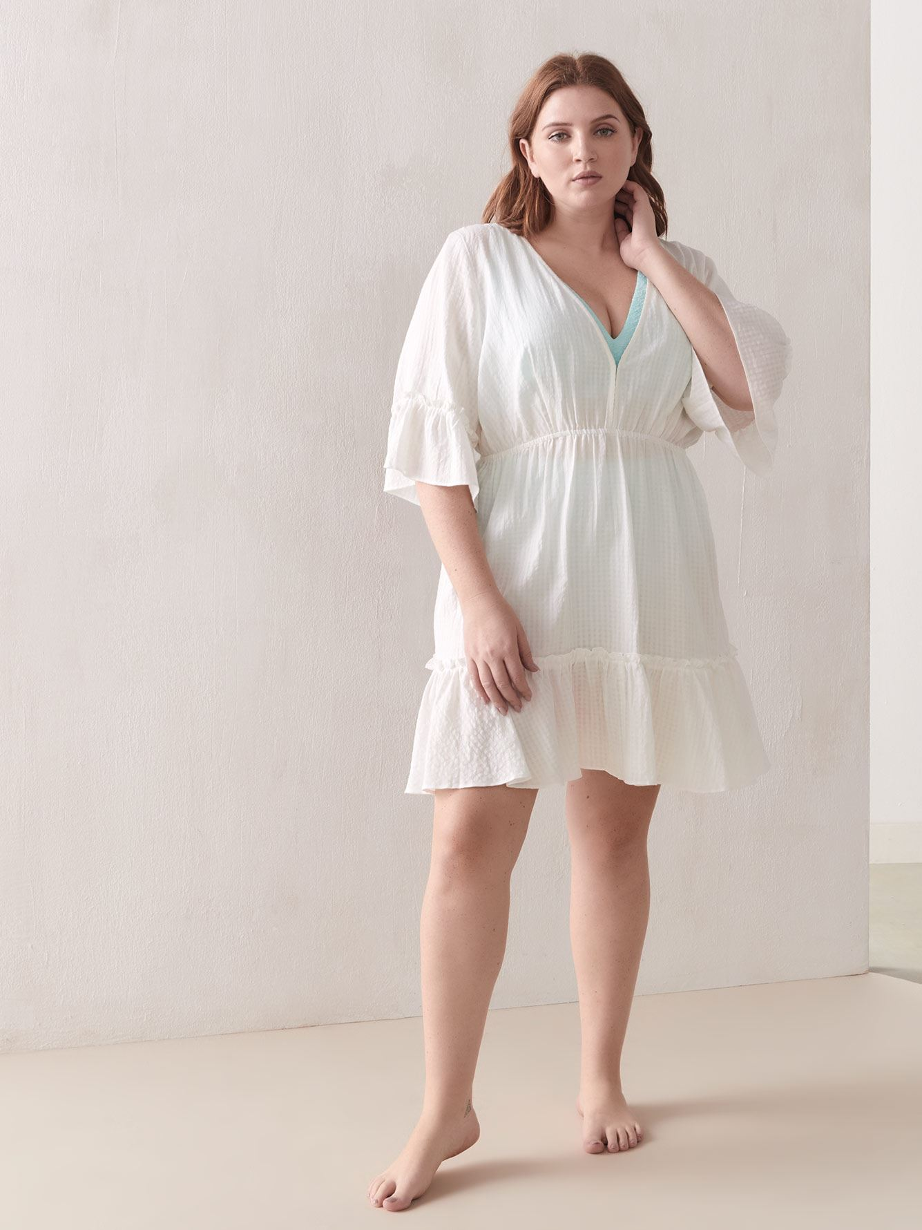 Cover-Up Dress with Back Neck Tie - Addition Elle