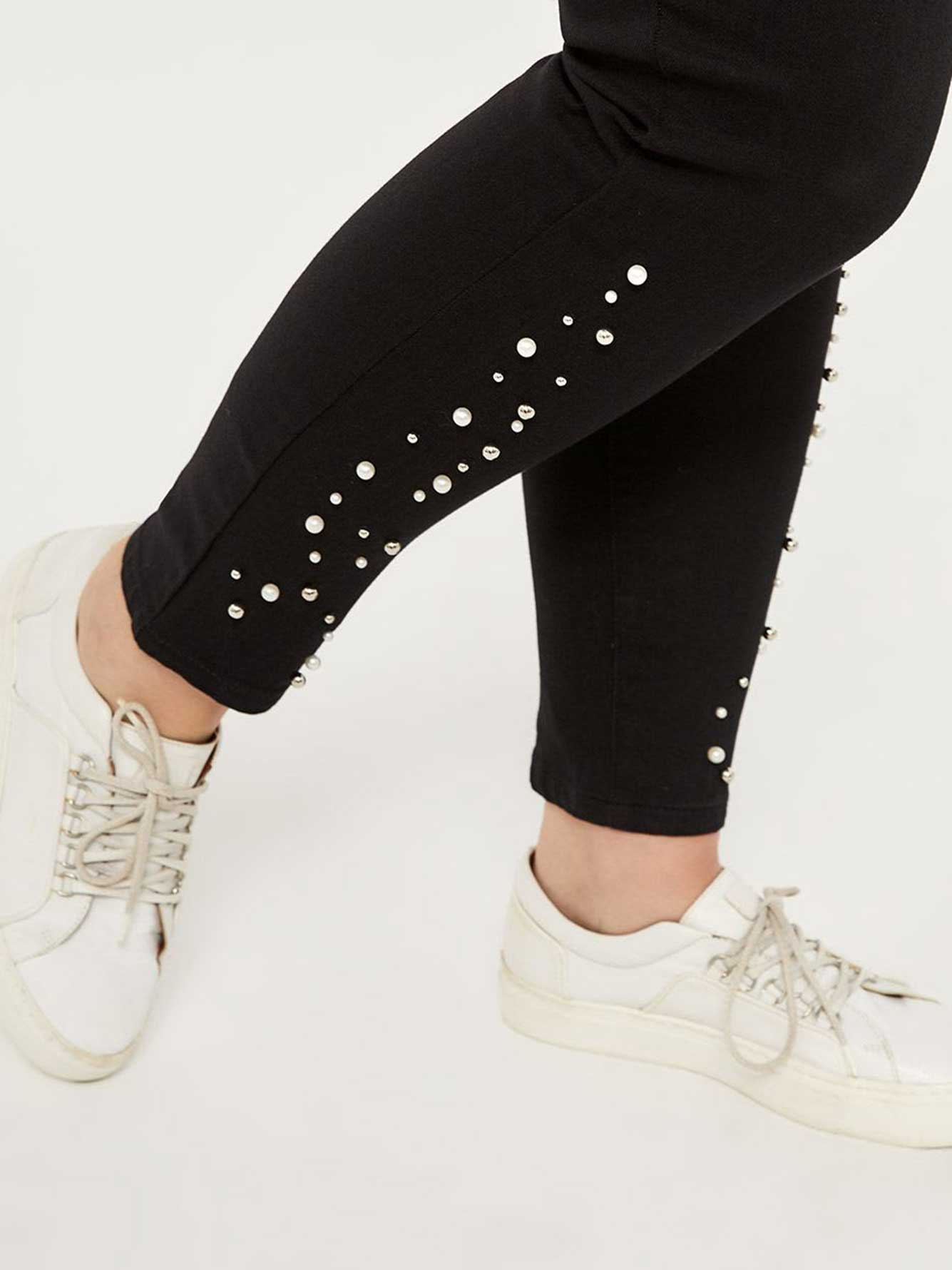 Petite - Slightly Curvy High Rise Skinny Jean with Pearls - d/C JEANS