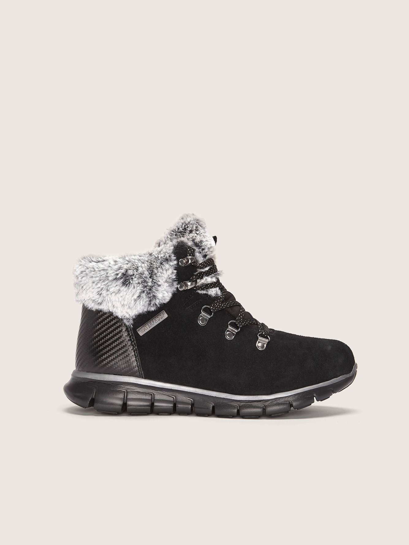 Wide Lace Up Boot with Faux Fur Collar - Skechers
