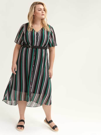 Chiffon Midi Dress with Button-Down Front