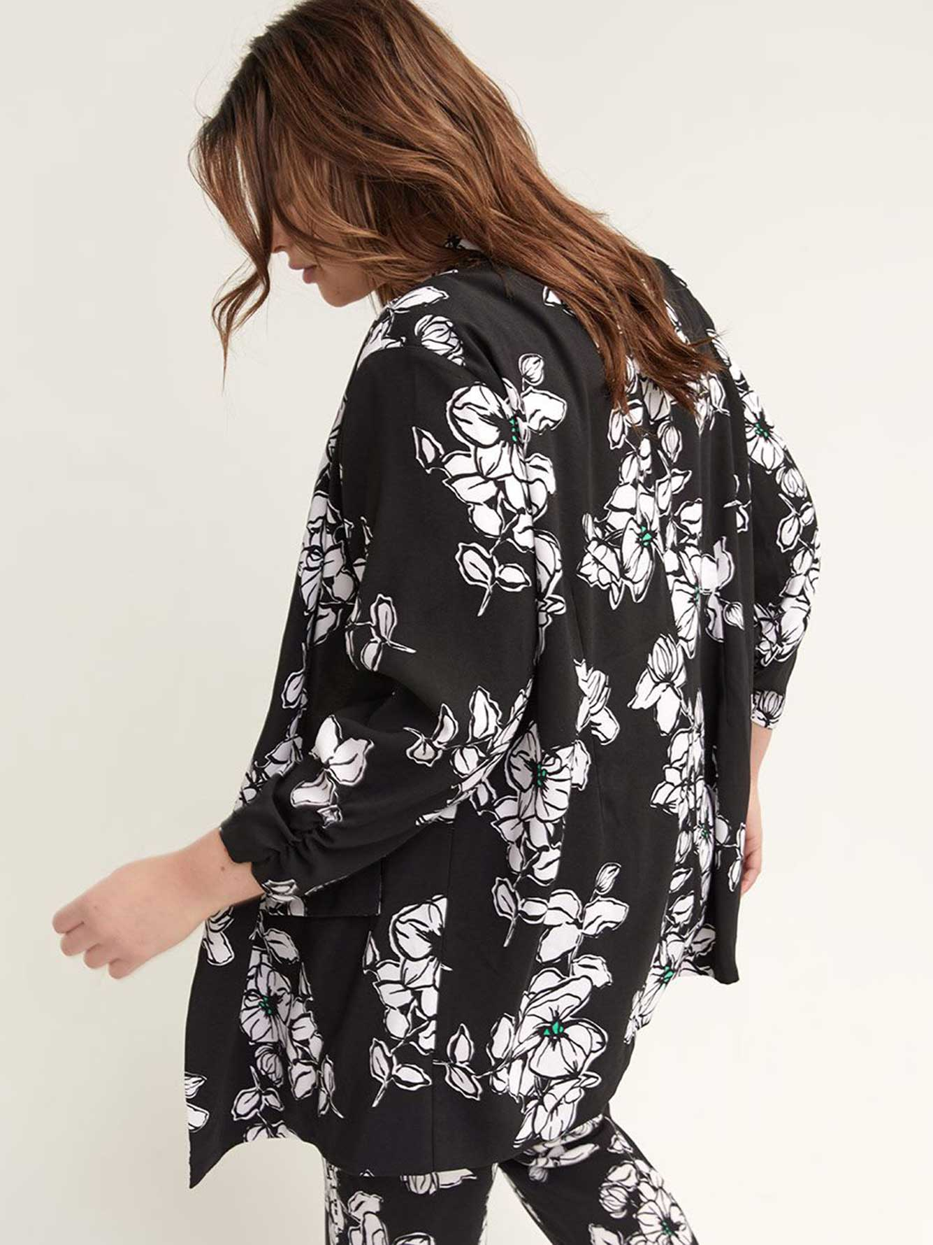 Floral Blazer with Ruched 3/4 Sleeves