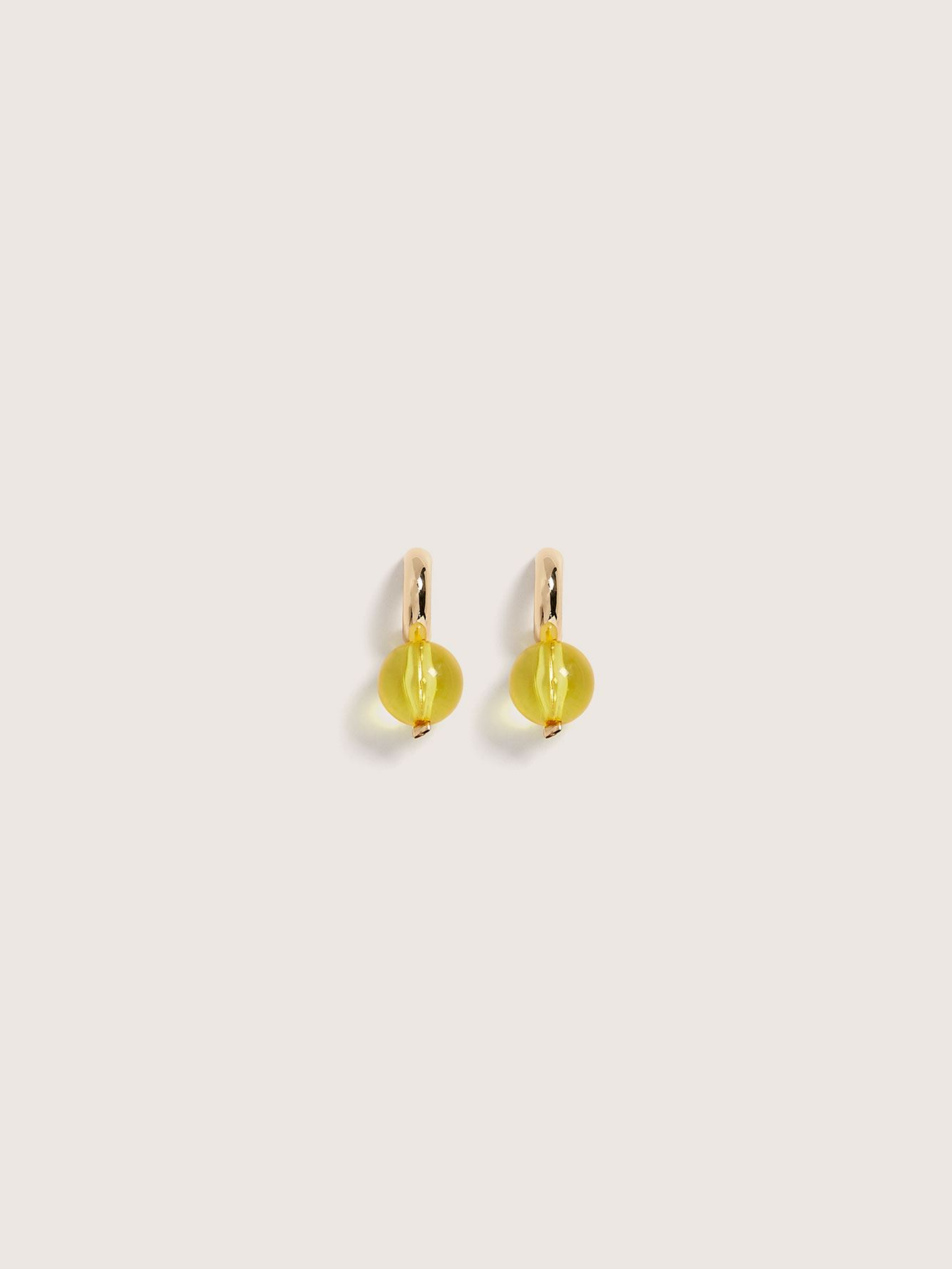 Hoop Earrings with Lucite Beads - Addition Elle