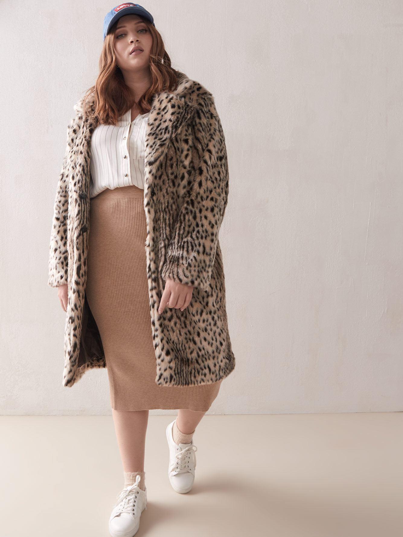 Leopard Faux-Fur Coat - Addition Elle