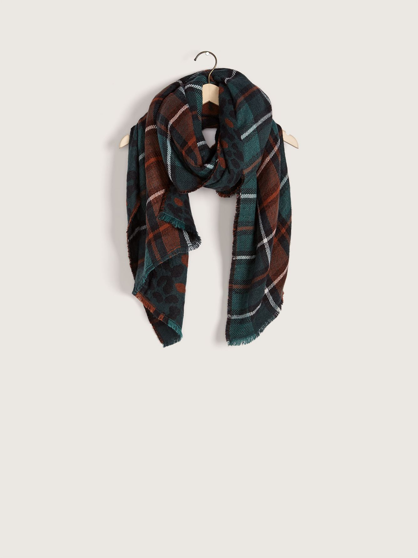 Reversible Animal/Plaid Scarf - Addition Elle