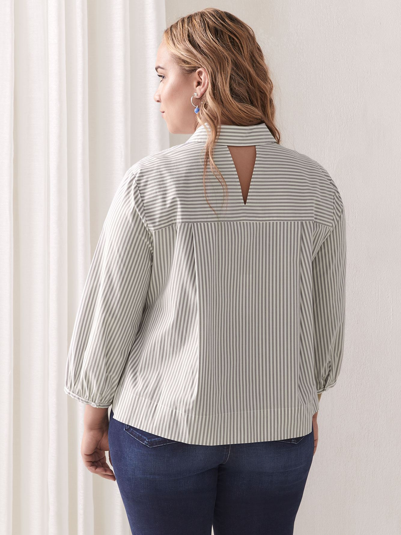 Yarn-Dye Popover Cotton Blouse - Addition Elle